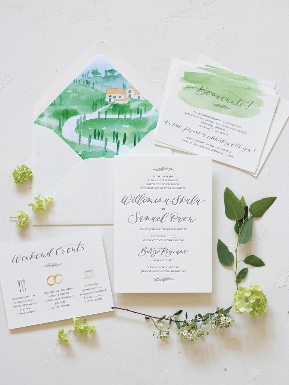 Classic Wedding Invitation for Italian Destination wedding