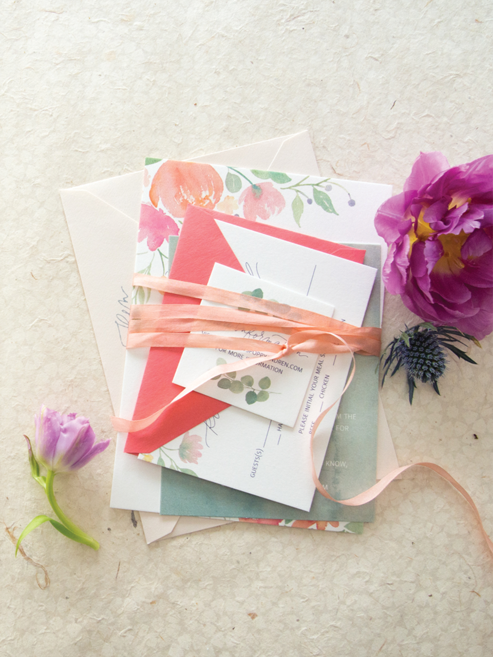 Watercolor floral invitation Suite