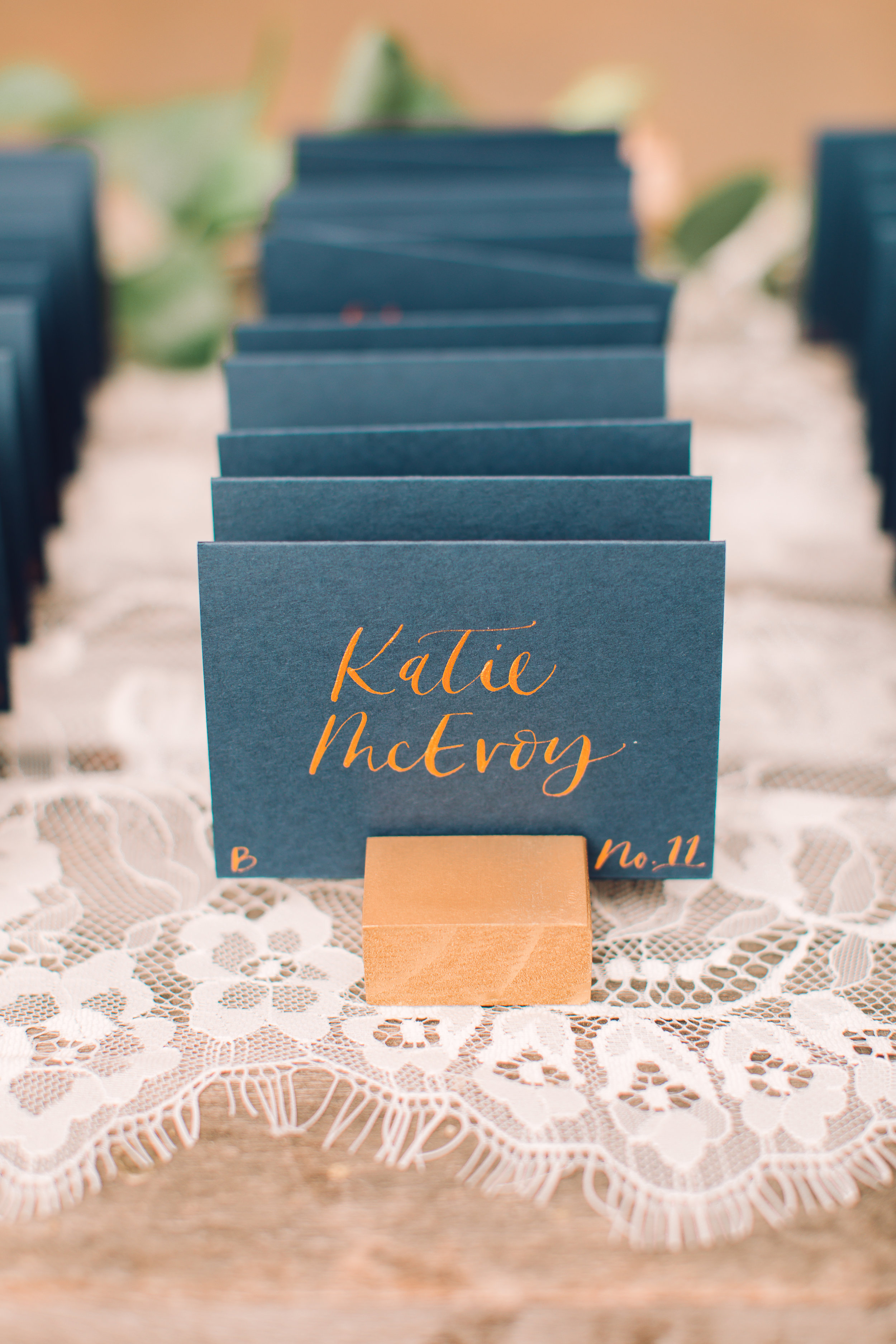 Navy and Gold Calligraphy Place Cards