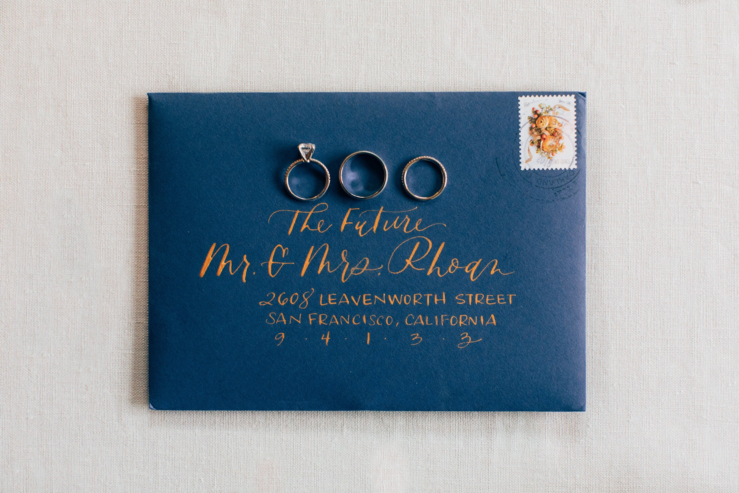 Navy and Gold Calligraphy Envelope Addressing