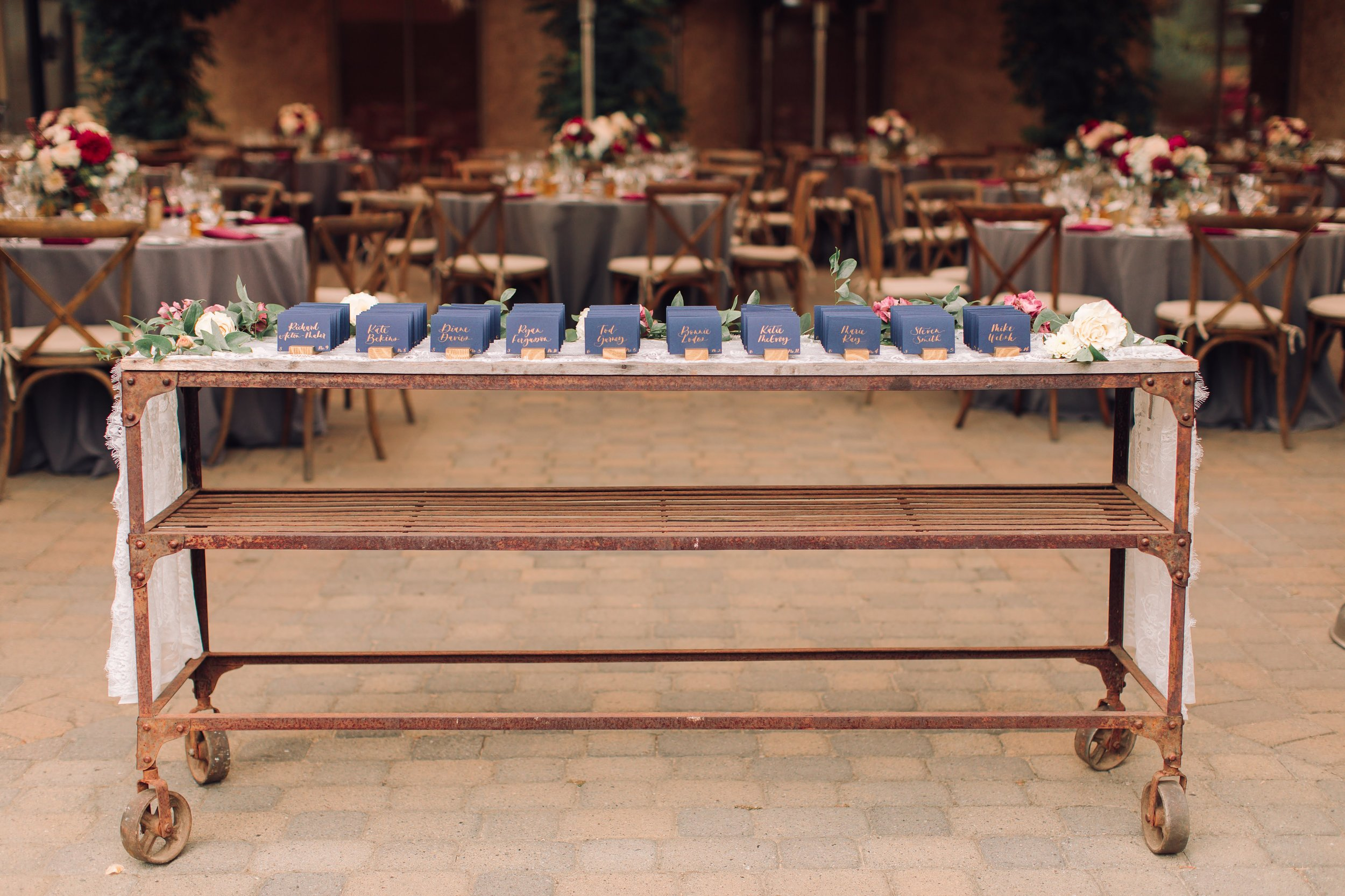 Classic Navy and Gold Escort Cards