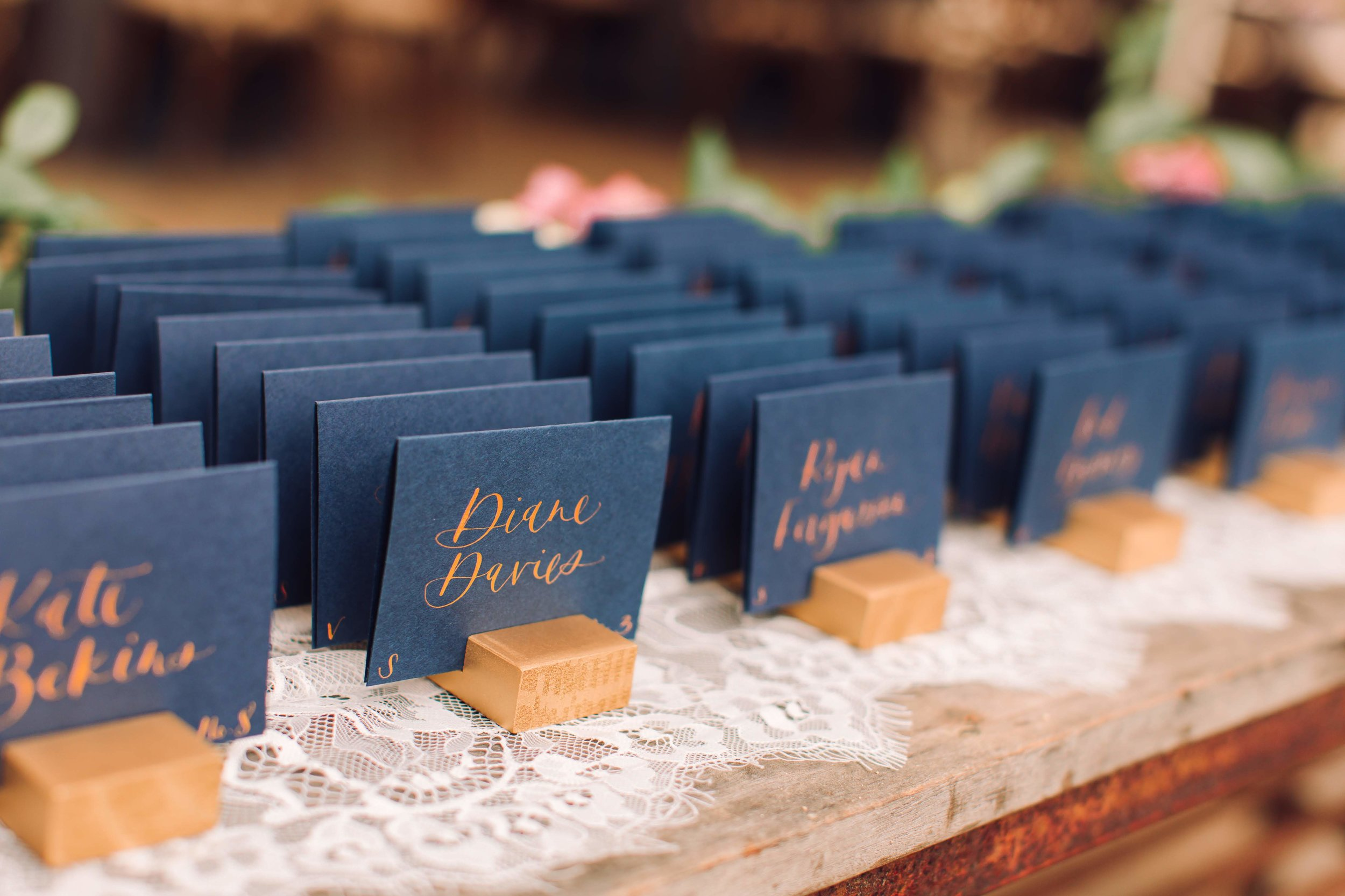Class Escort Cards in Navy and Gold