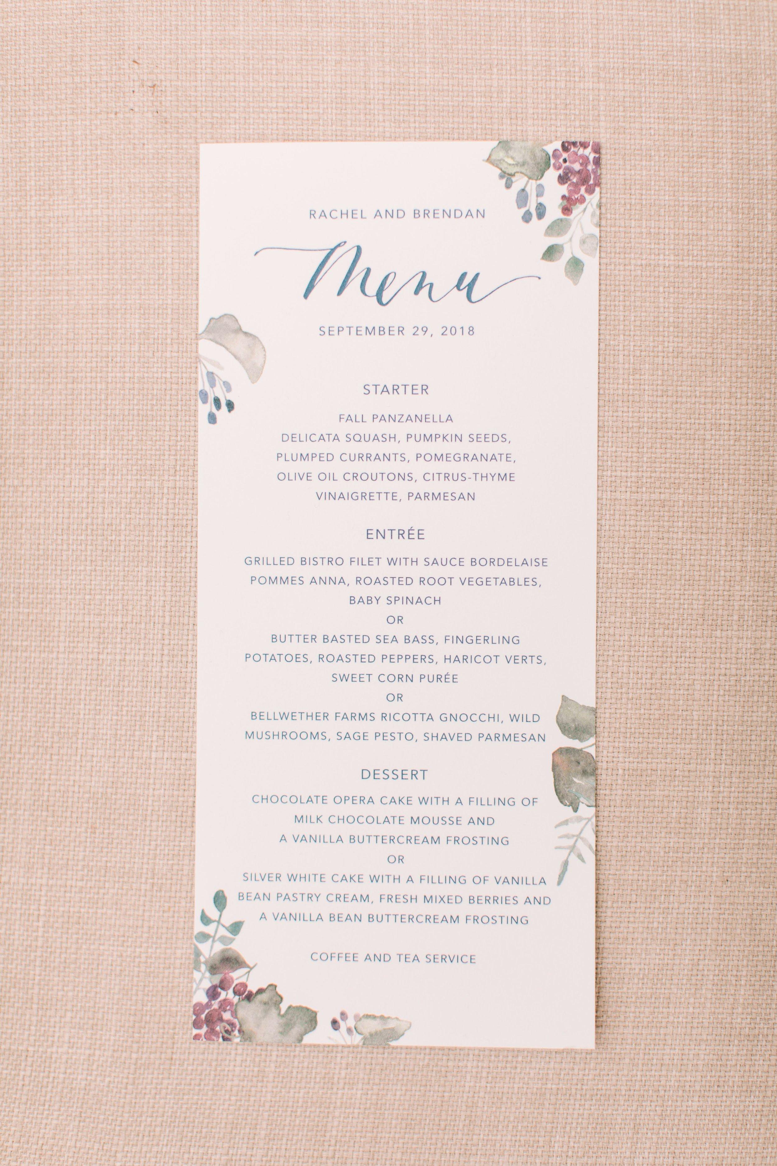 Elegant Menu for a Wine Country Wedding