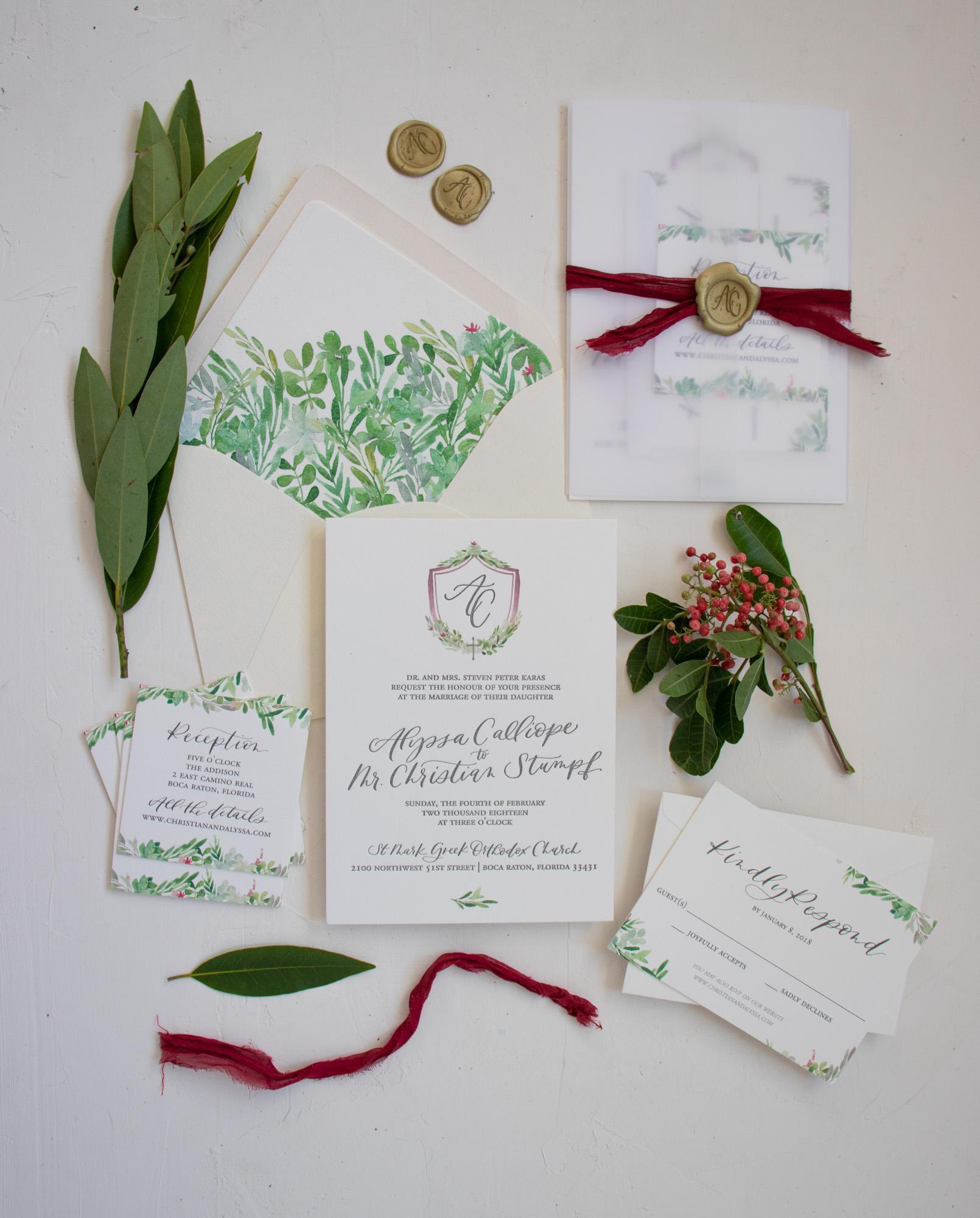 Elegant Church Wedding Invitation with Crest and Custom Wax Seal