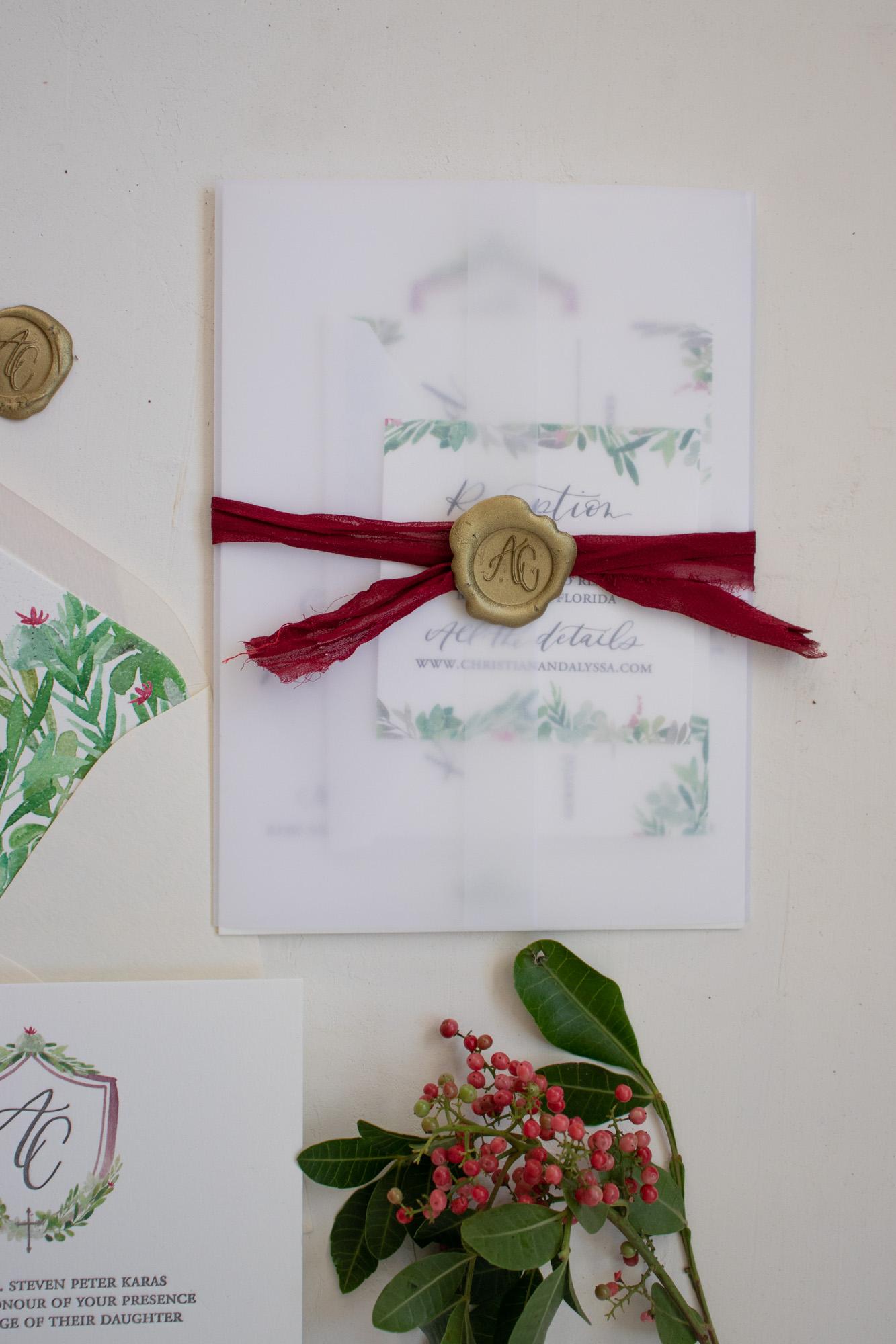 Unique Vellum Wrapped Wedding Invitation