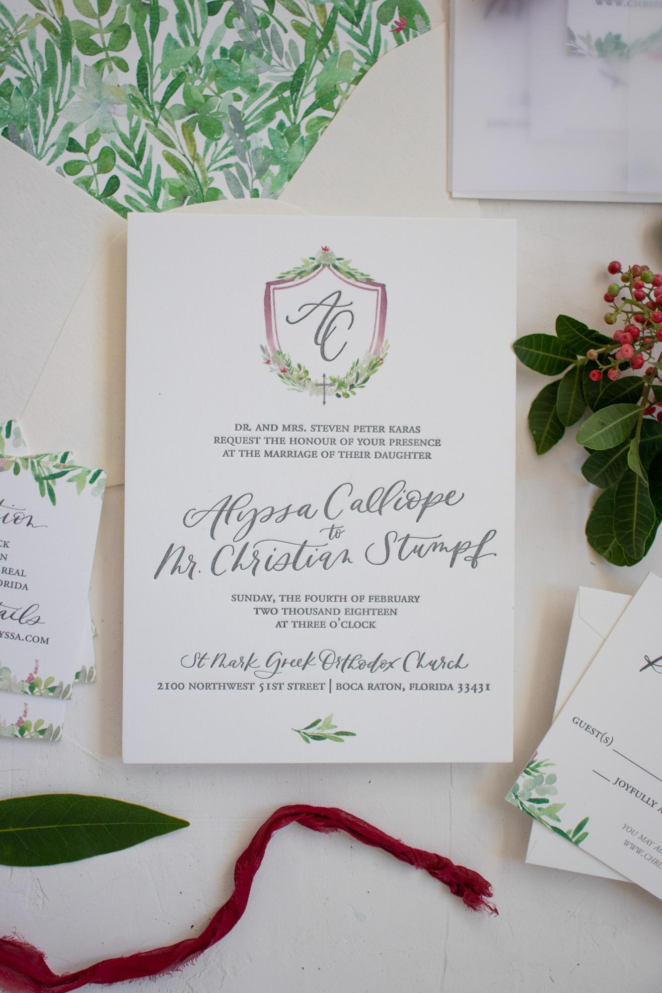 Elegant Florida Wedding Invitation with Crest