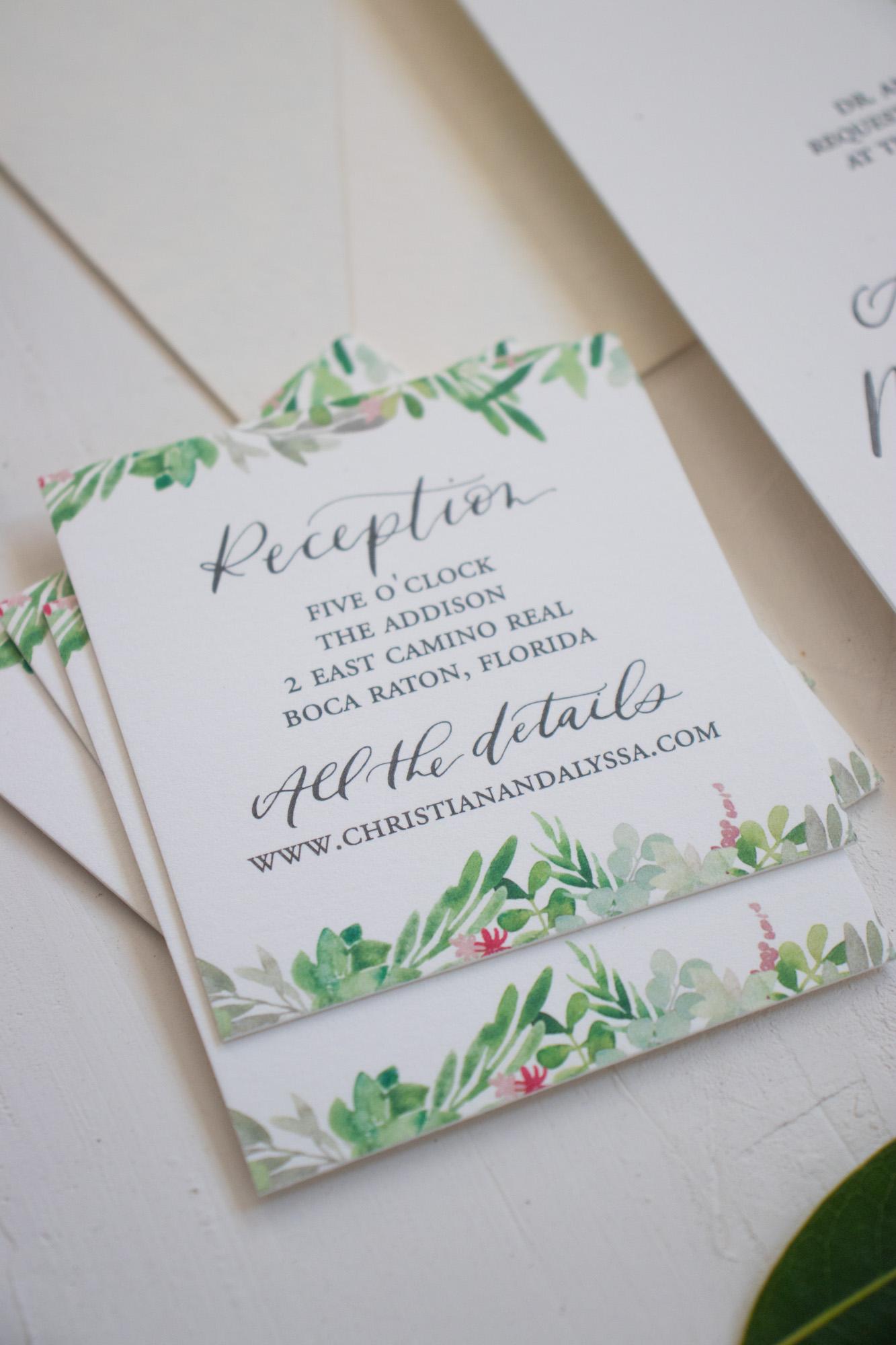 Watercolor Reception Card