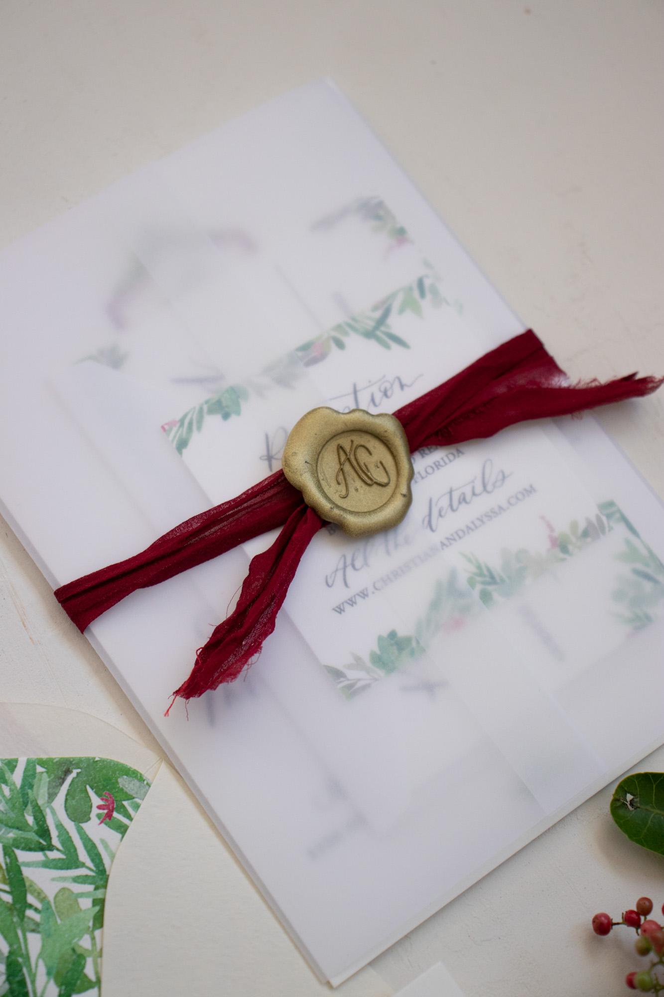 Monogram Wax Seal Wrapped Wedding Invitations