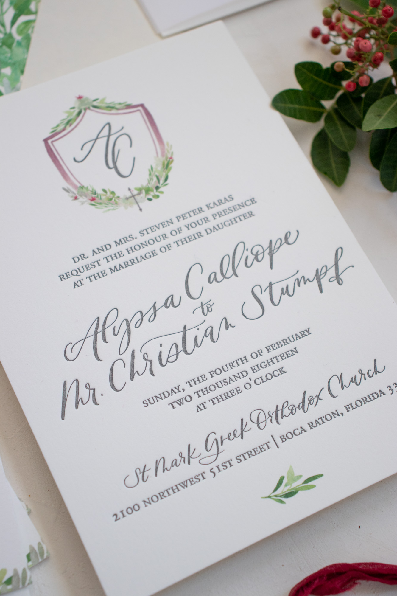 Letterpress Wedding Invitation with Calligraphy and Watercolor Crest