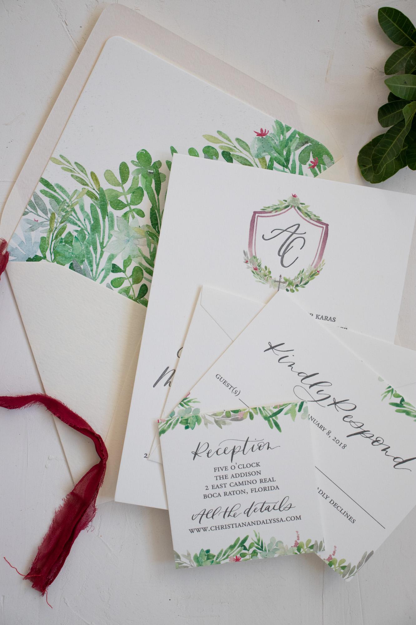 Watercolor Greenery Wedding Invitation