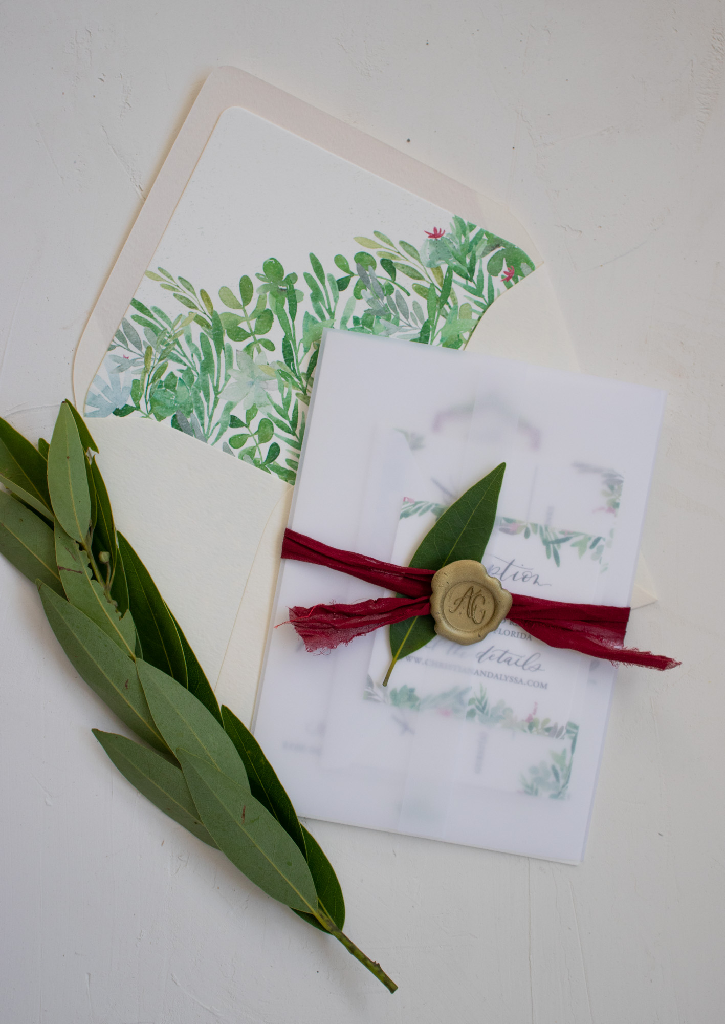 Watercolor Envelope Liner and Vellum Wrapped Invitation