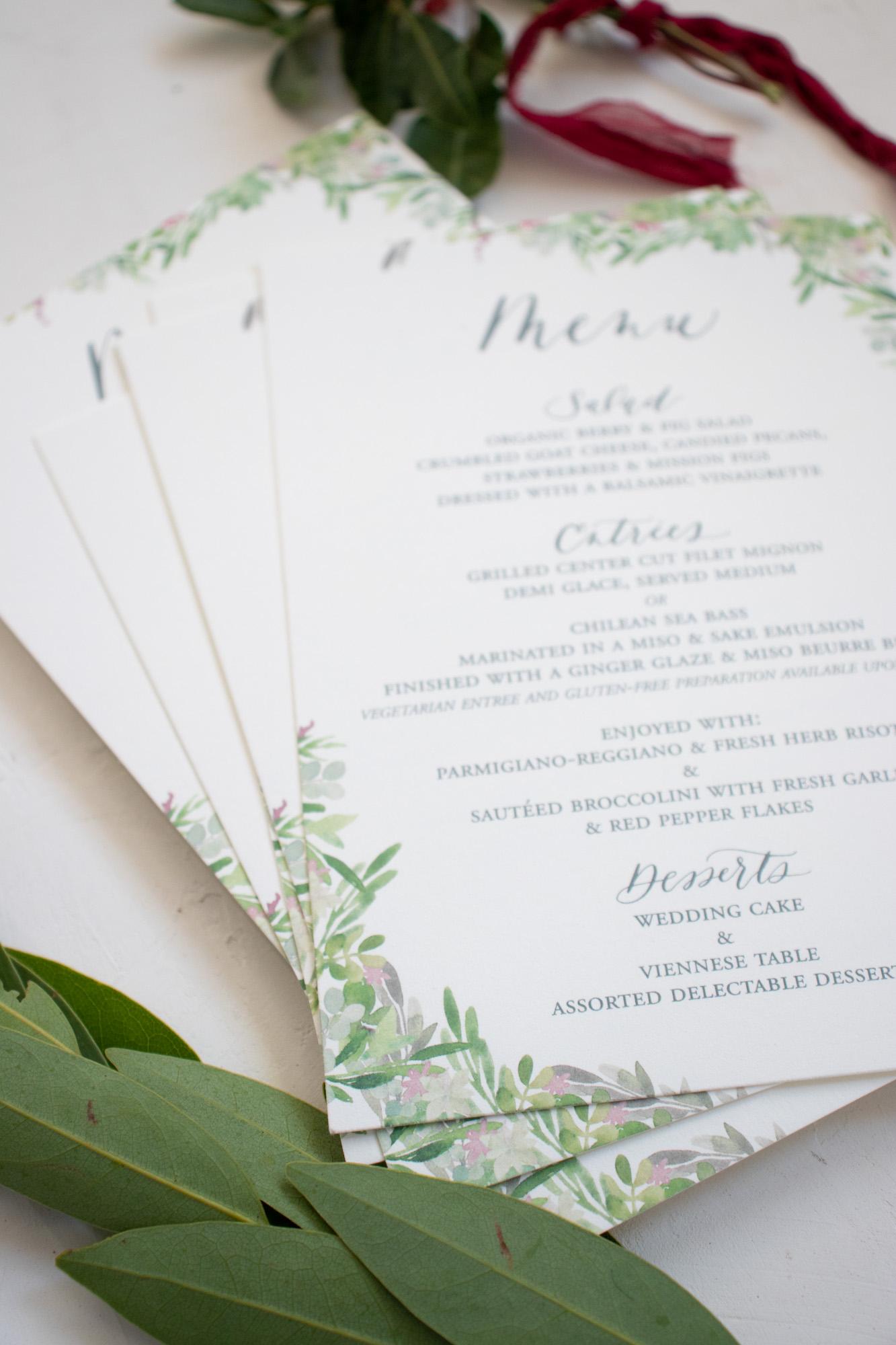 Watercolor Greenery Wedding Menu