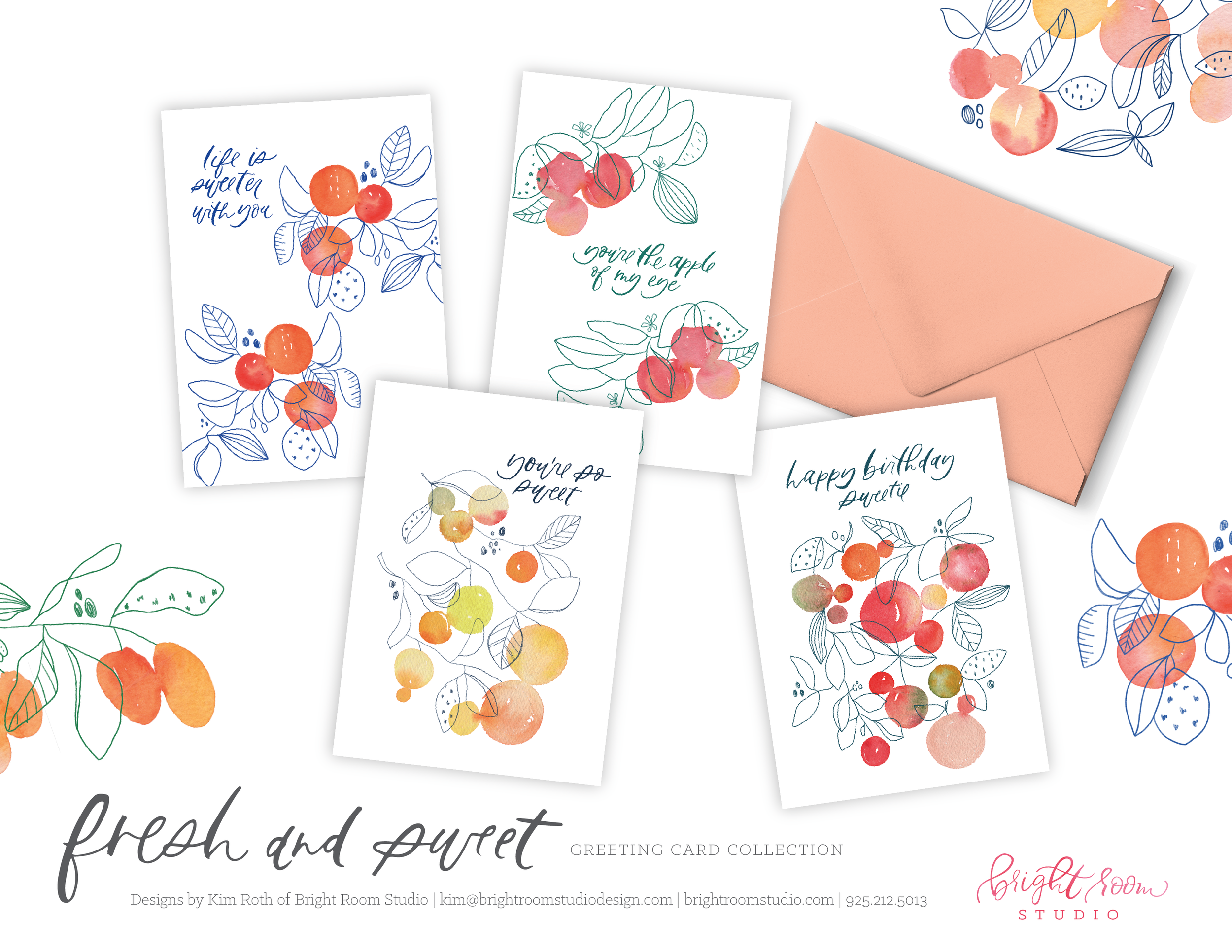 Watercolor Illustration Fruit Inspired Greeting Card Designs