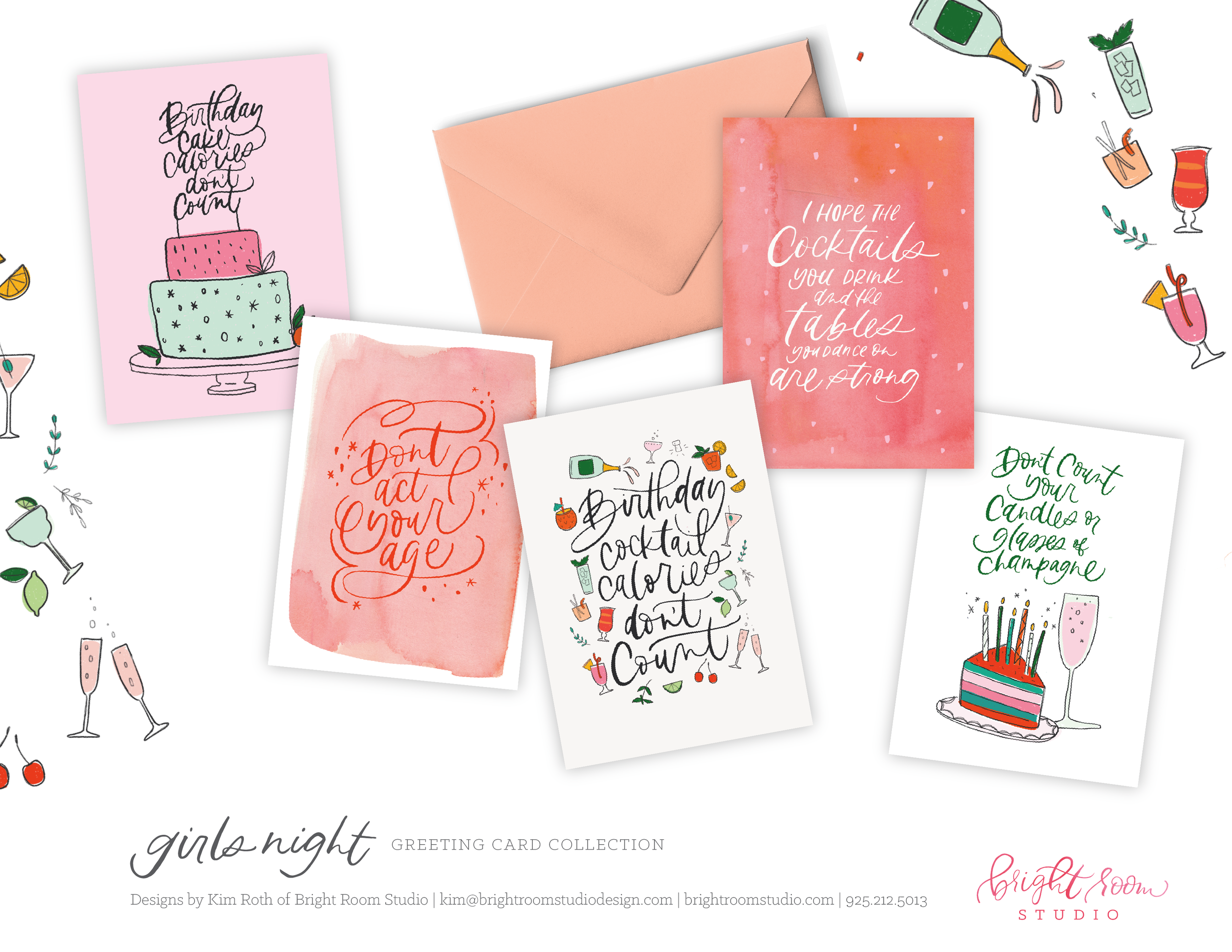 Illustrated and Hand Lettered Birthday Card Designs