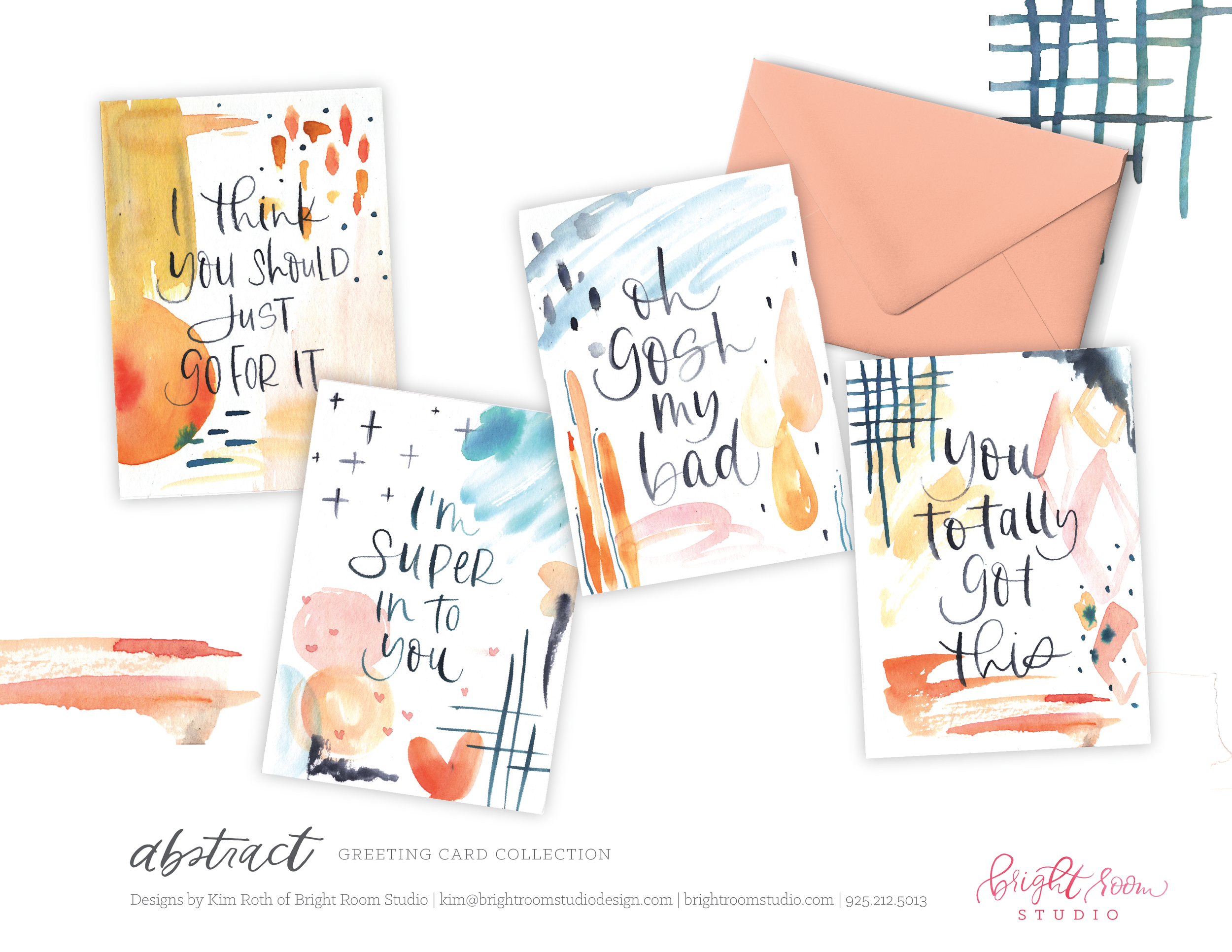 Abstract and Hand-Lettering Greeting Card Designs