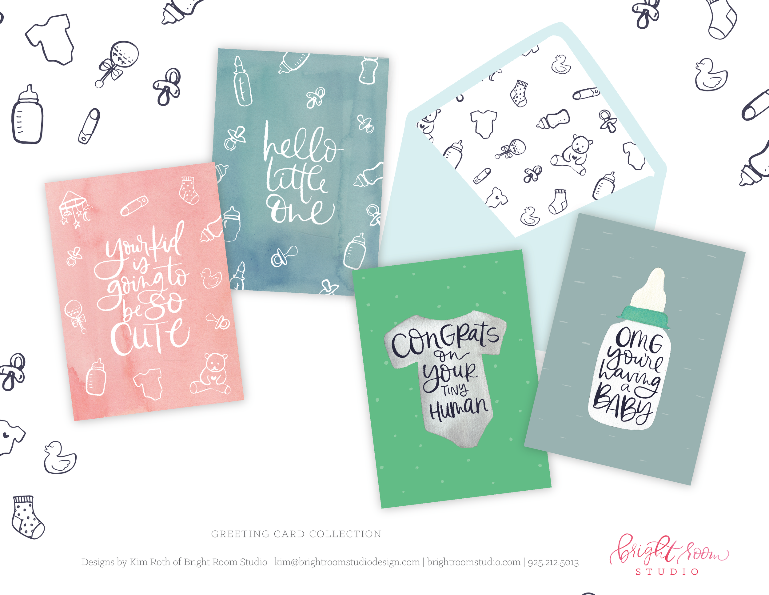Hand-lettered and illustrated baby card designs