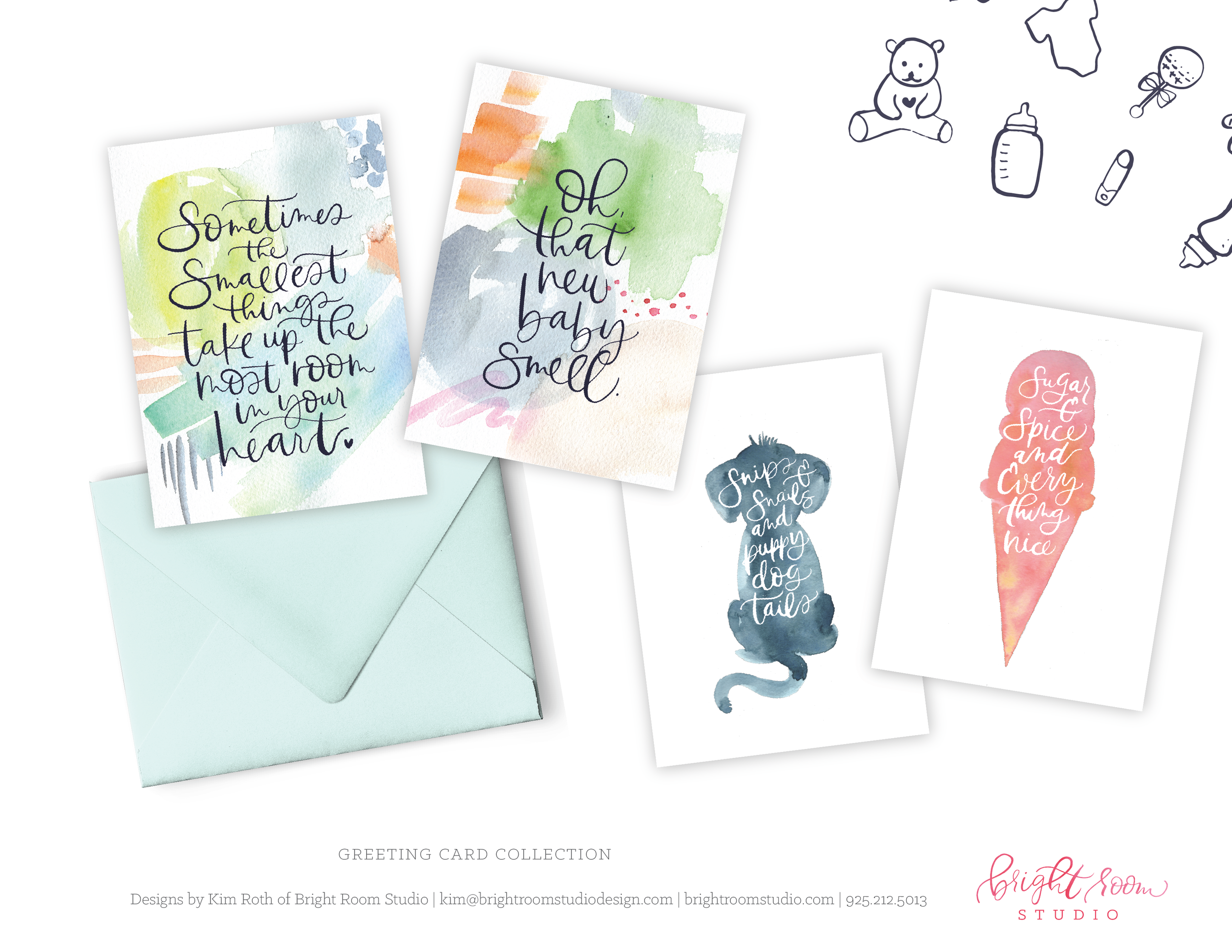 Watercolor and Hand-lettering Greeting Card designs