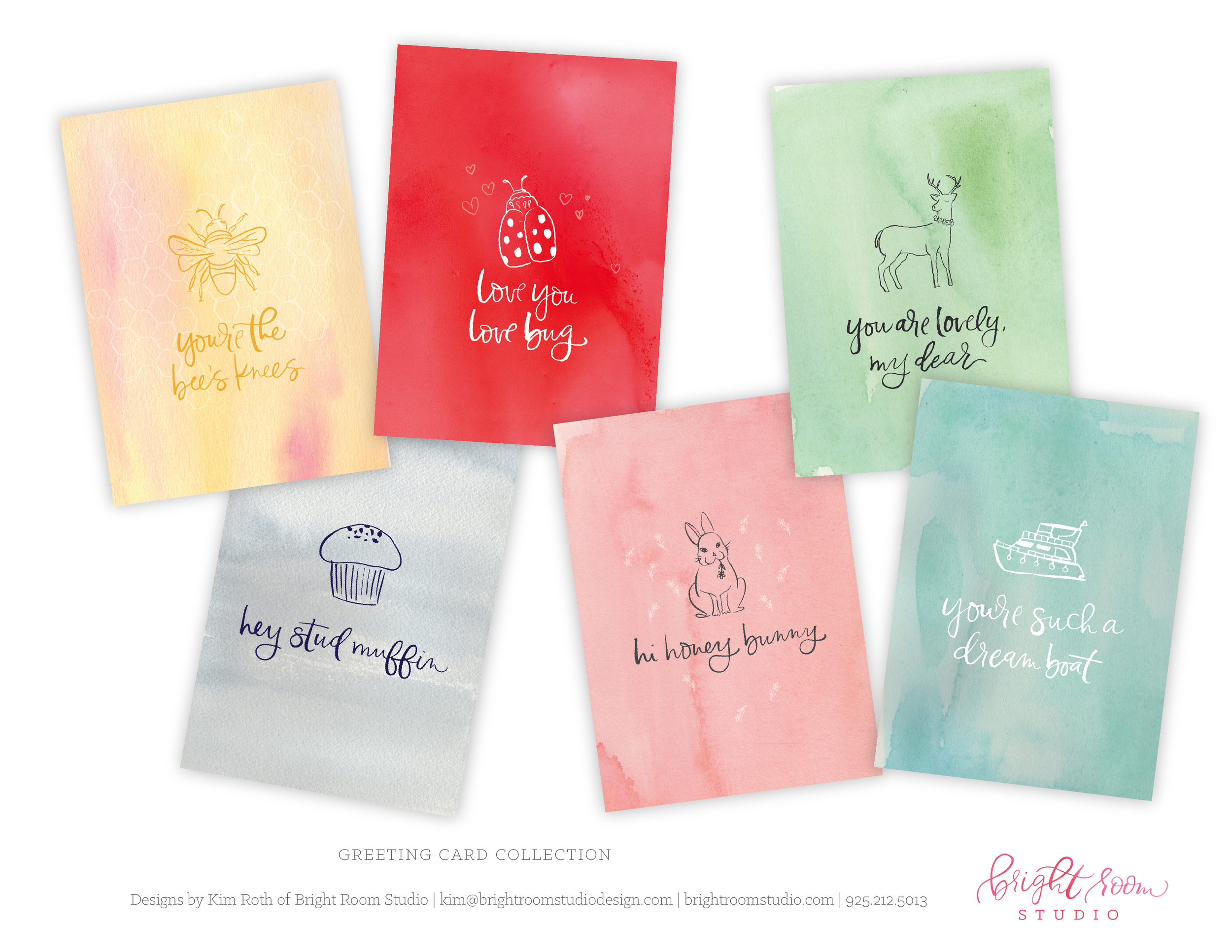 Watercolor, hand-lettering and illustration for cute greeting cards