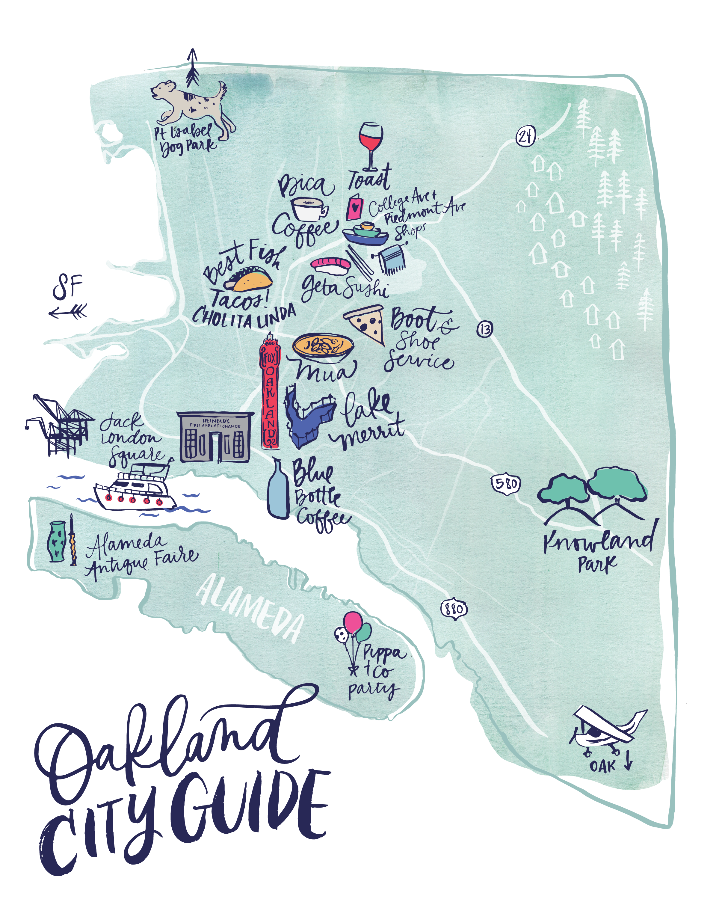 Illustrated Map for Oakland, California