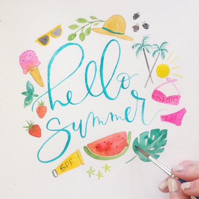 Hello Summer Watercolor
