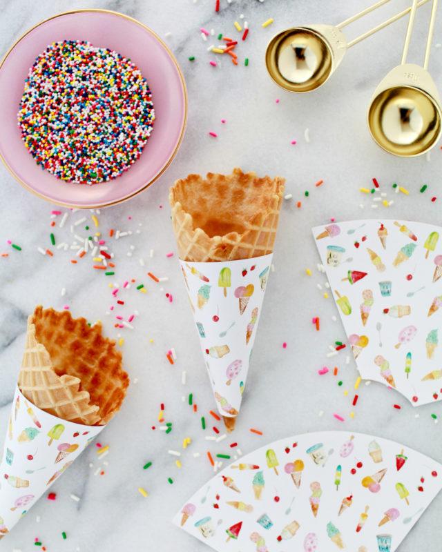 Watercolor Ice Cream Cone Wrapper