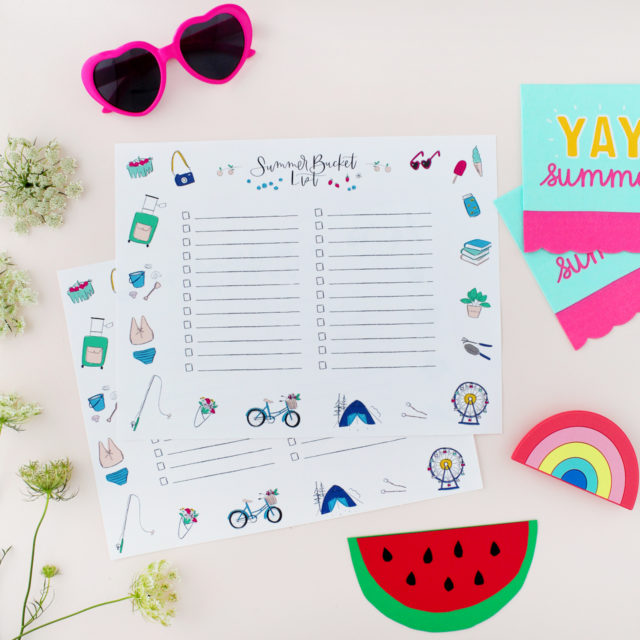 Illustrated Summer Bucket List Printable