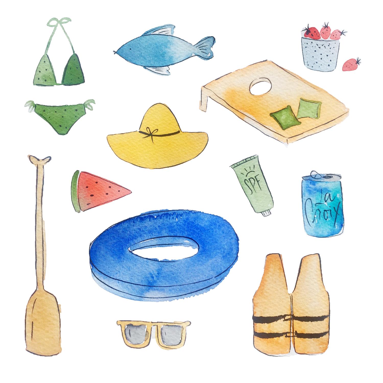 Lake inspired watercolor illustrations