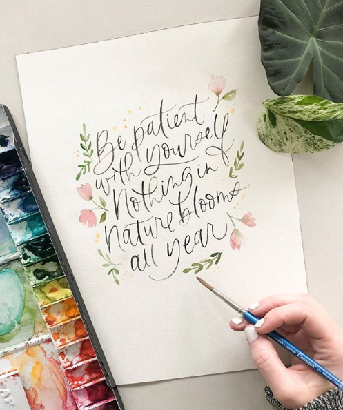 "Watercolor ""Be Patient"" Quote"