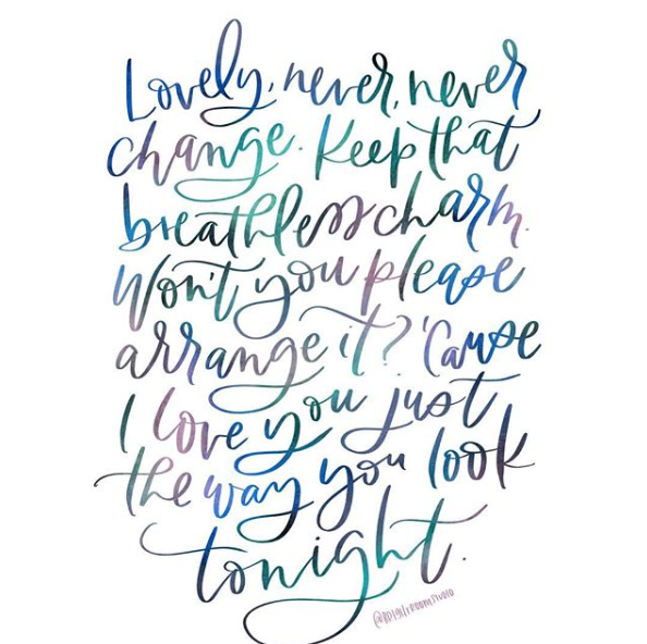 """Hand-lettered Song Lyrics """"The Way You Look Tonight"""""""