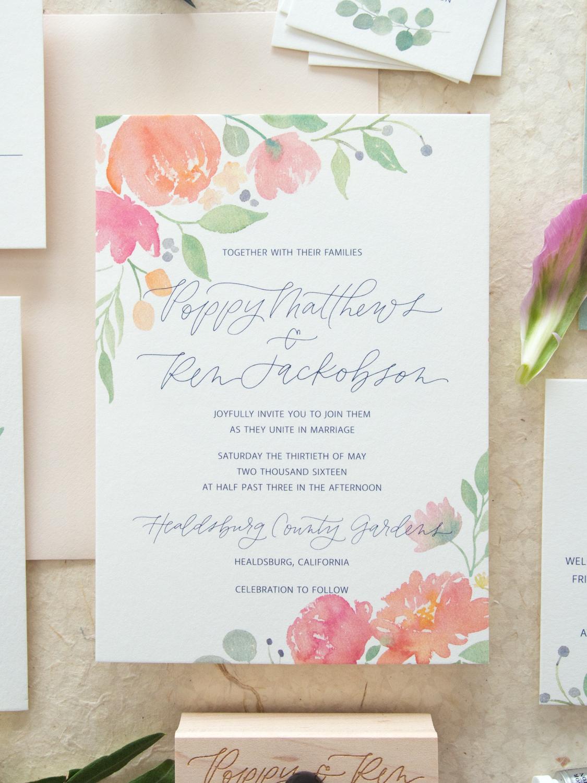 Romantic Floral Watercolor Invitation Suite