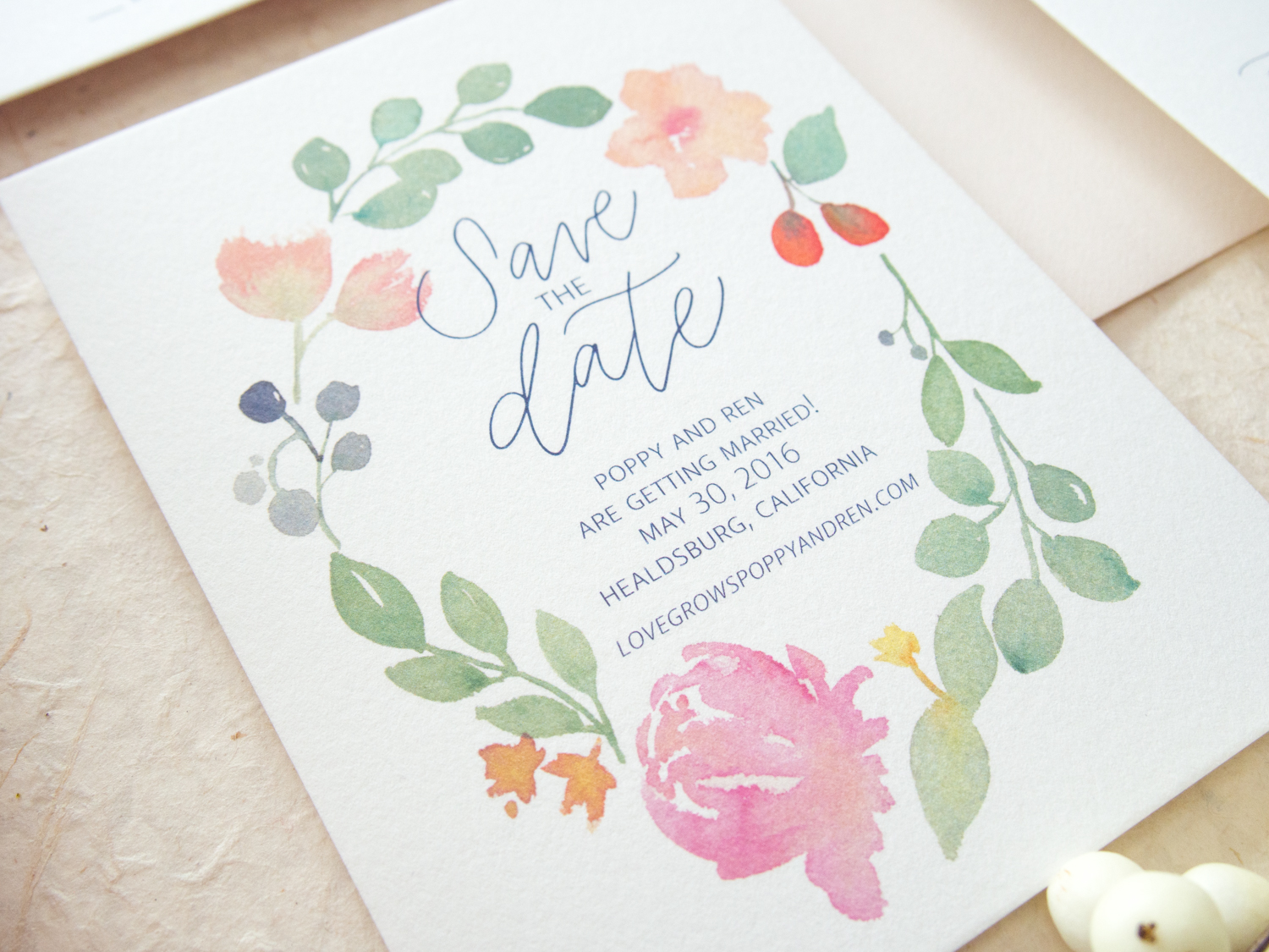 Romantic Floral Save the Date from Bright Room Studio