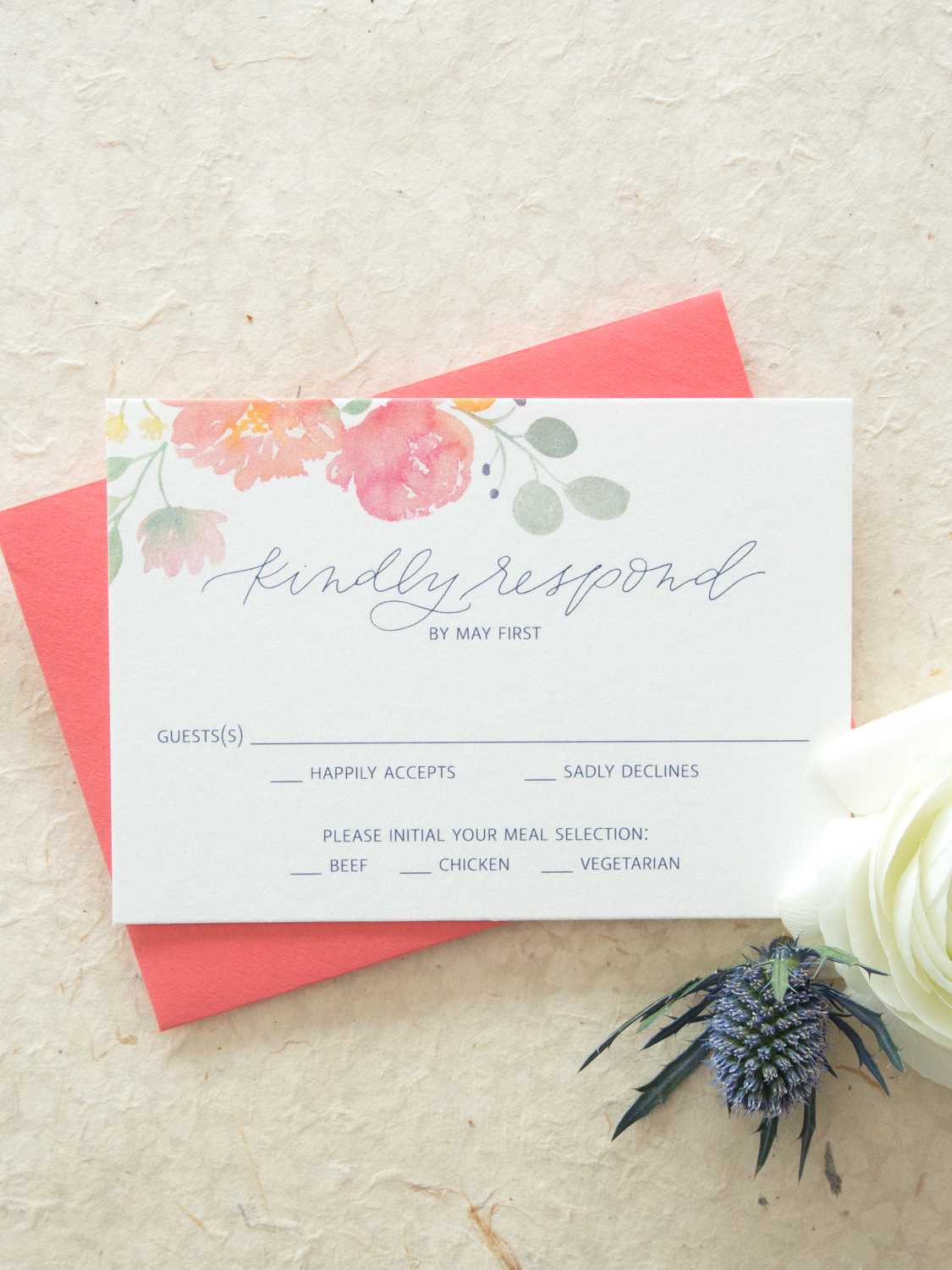 Romantic Floral Watercolor Reply Card RSVP from Bright Room Studio