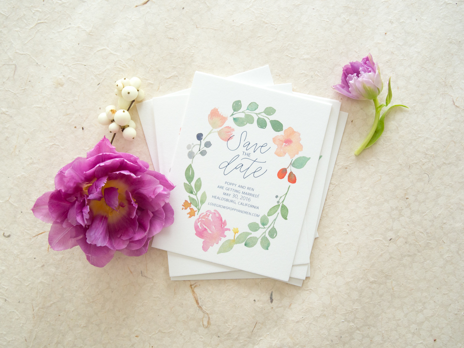 Watercolor Floral Save the Date from Bright Room Studio