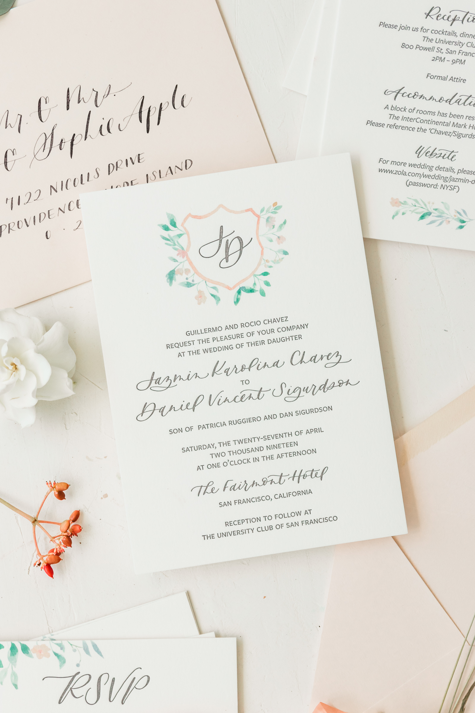 Classic Wedding Crest Invitation Suite