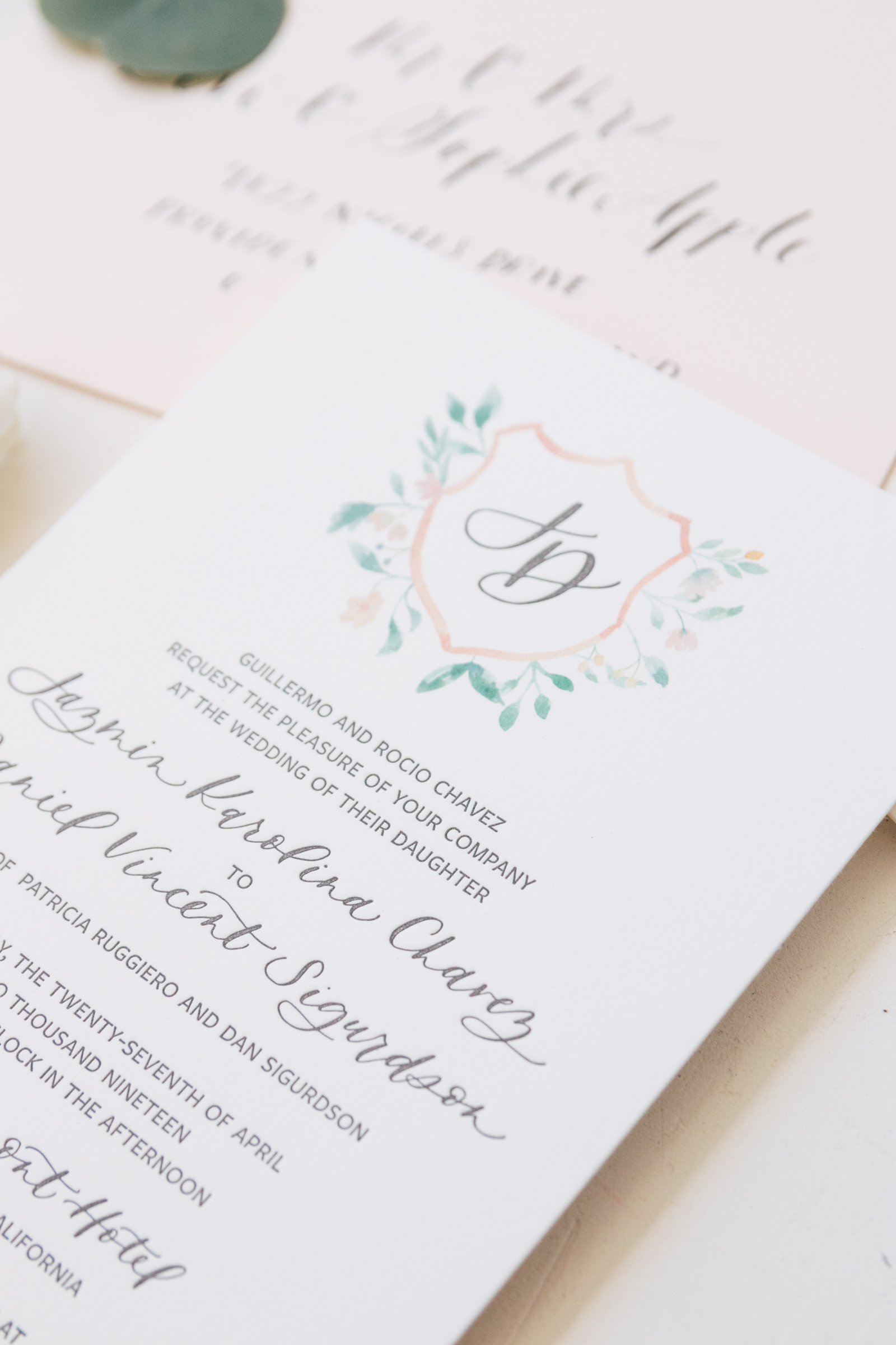 Classic Watercolor Crest Wedding Invitation
