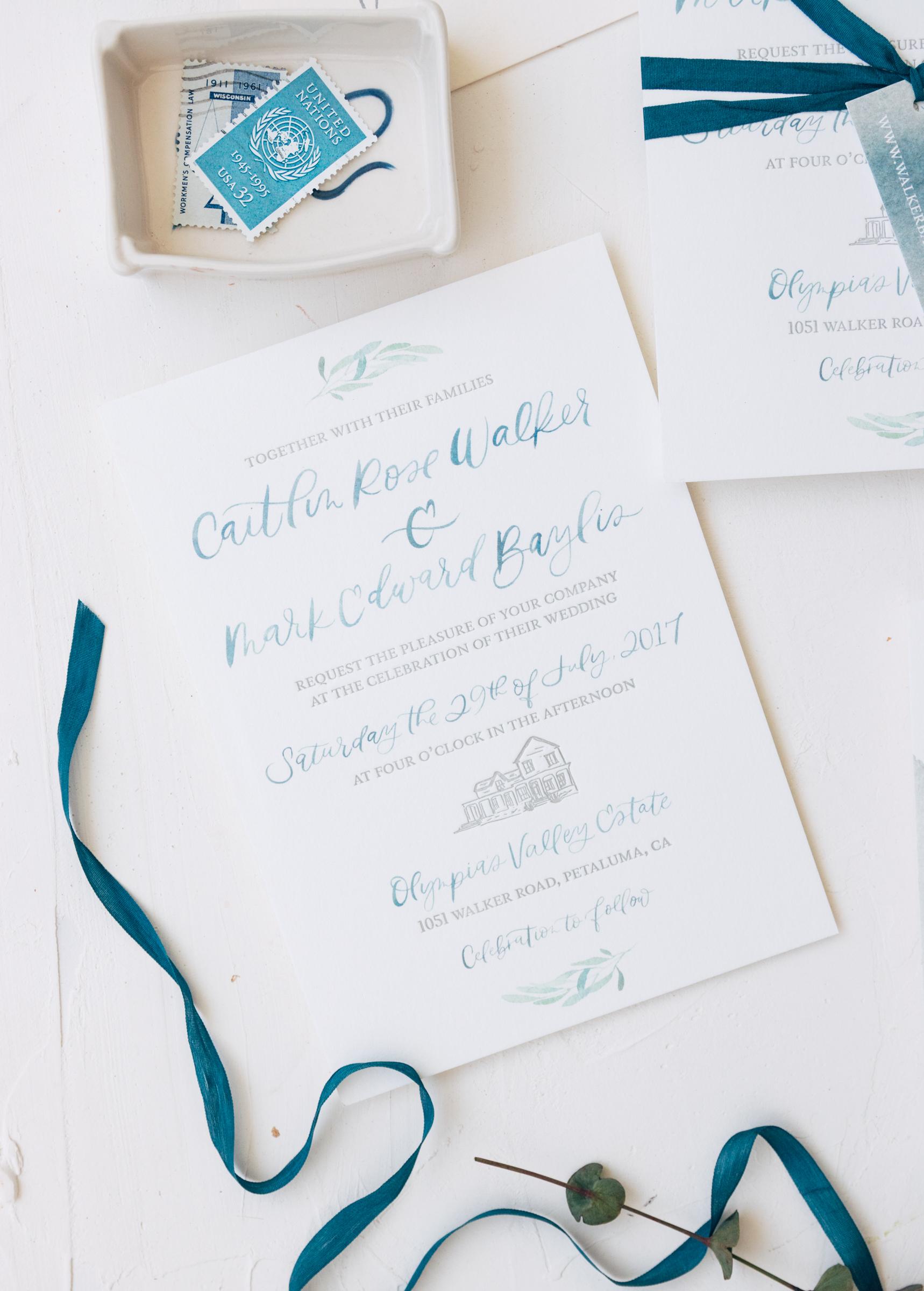 Simple and Unique Watercolor Wedding Invitation