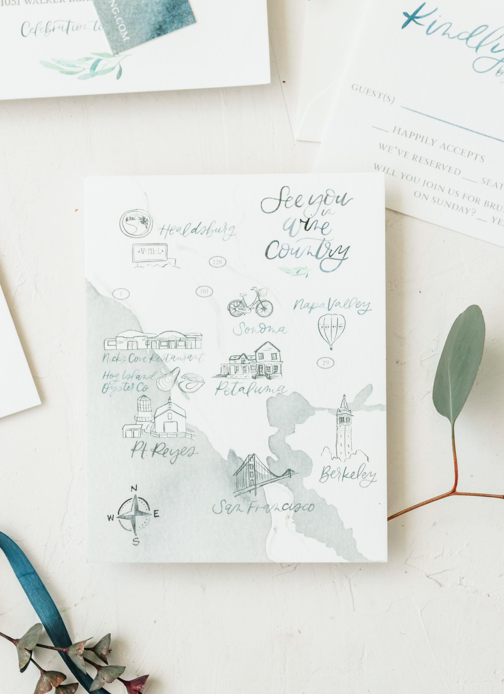 Unique Watercolor Wedding Map