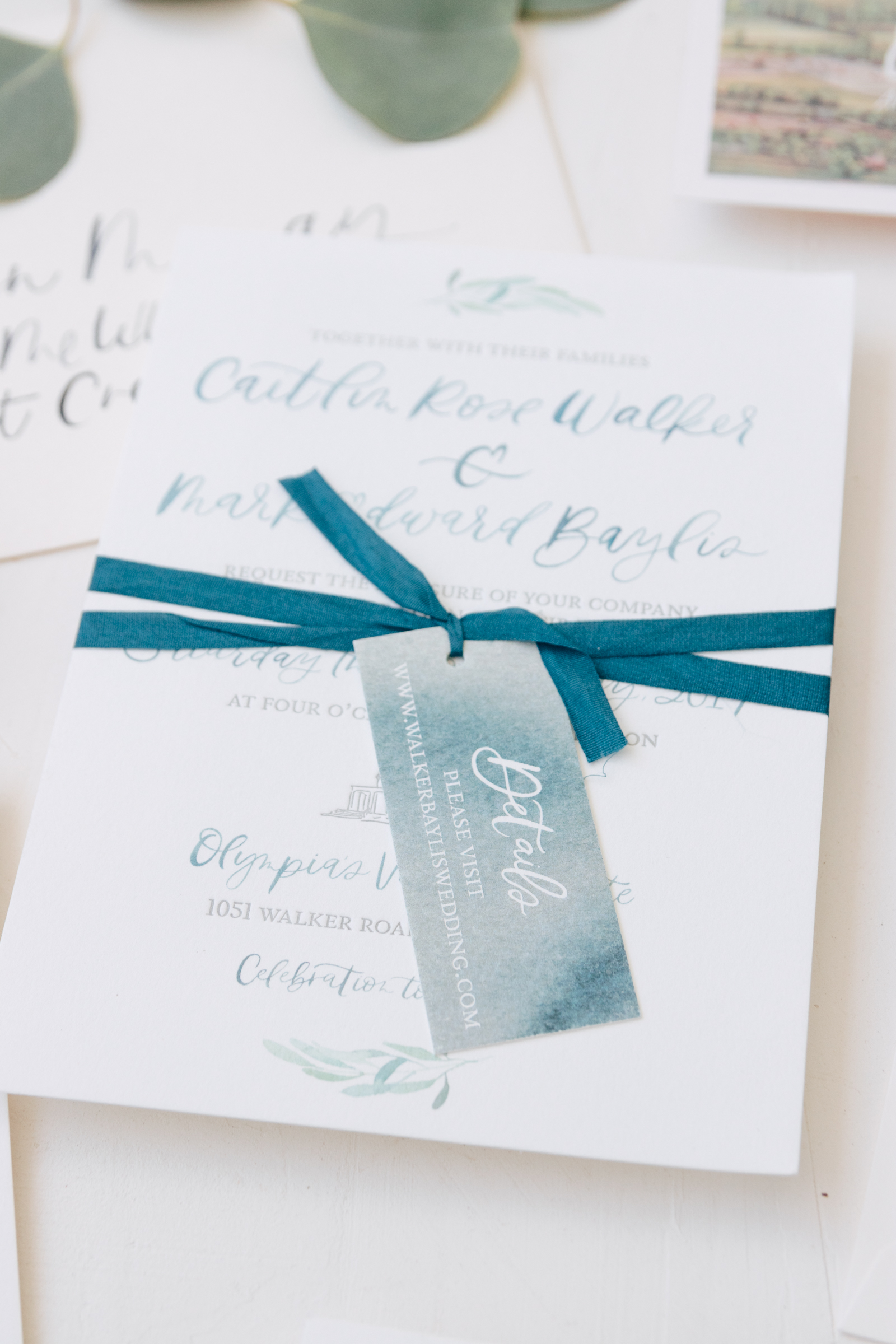 Blue Watercolor Details Tag for Wine Country Wedding Invitation
