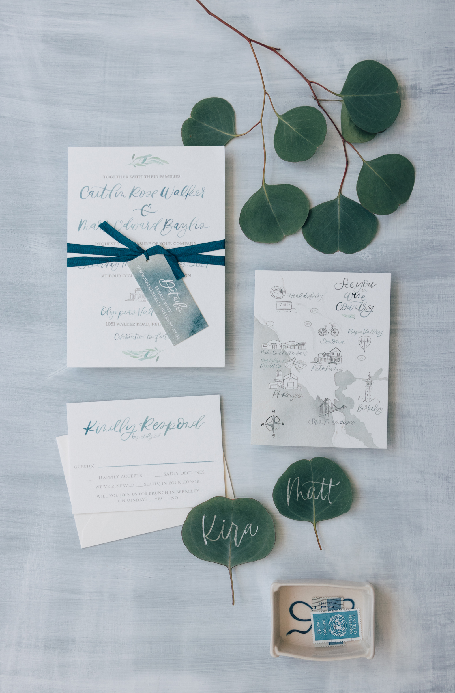 Unique Blue Watercolor Wedding Invitation for a Wine Country Wedding