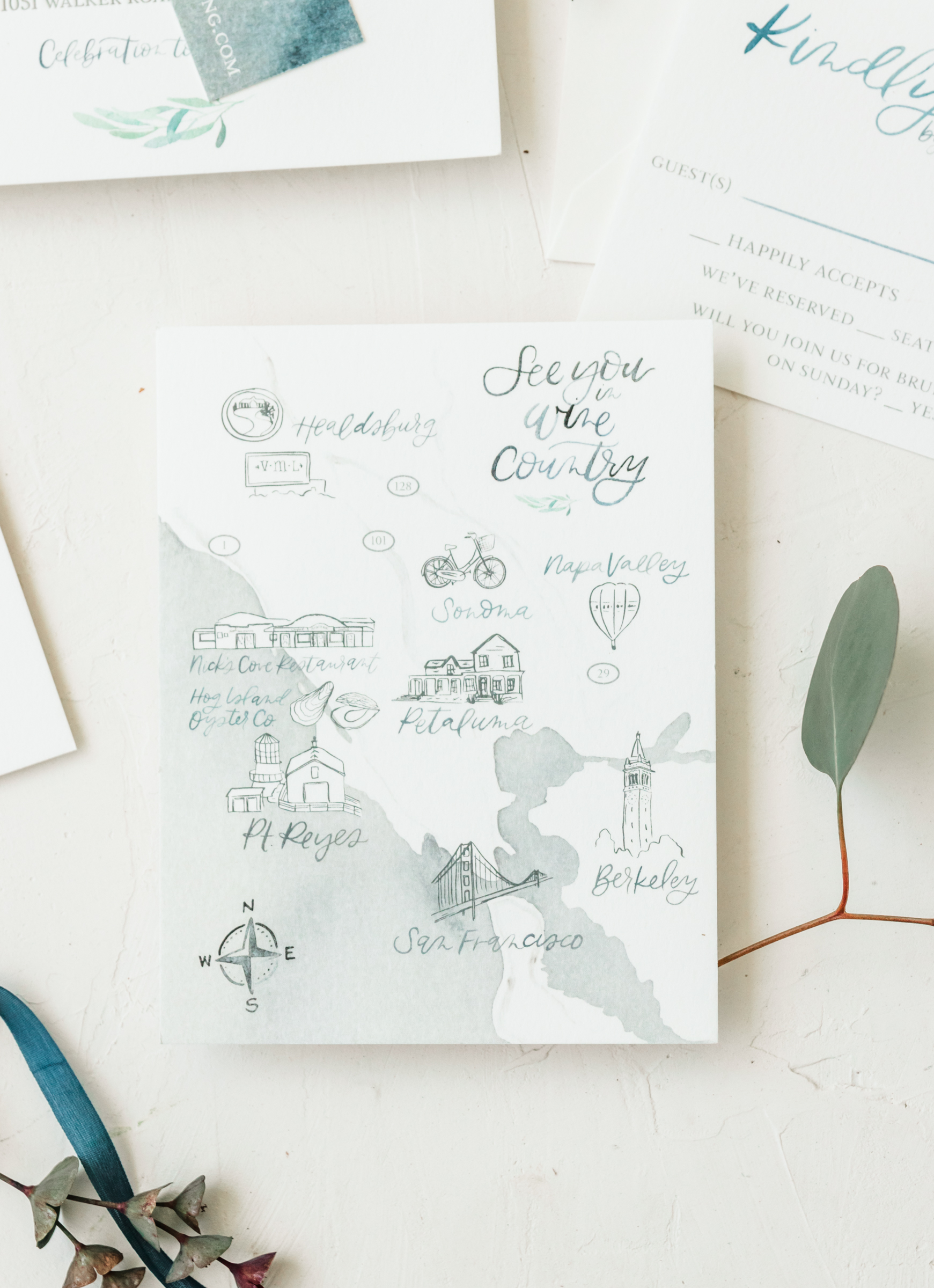 Unique Watercolor Wine Country Wedding Invitation