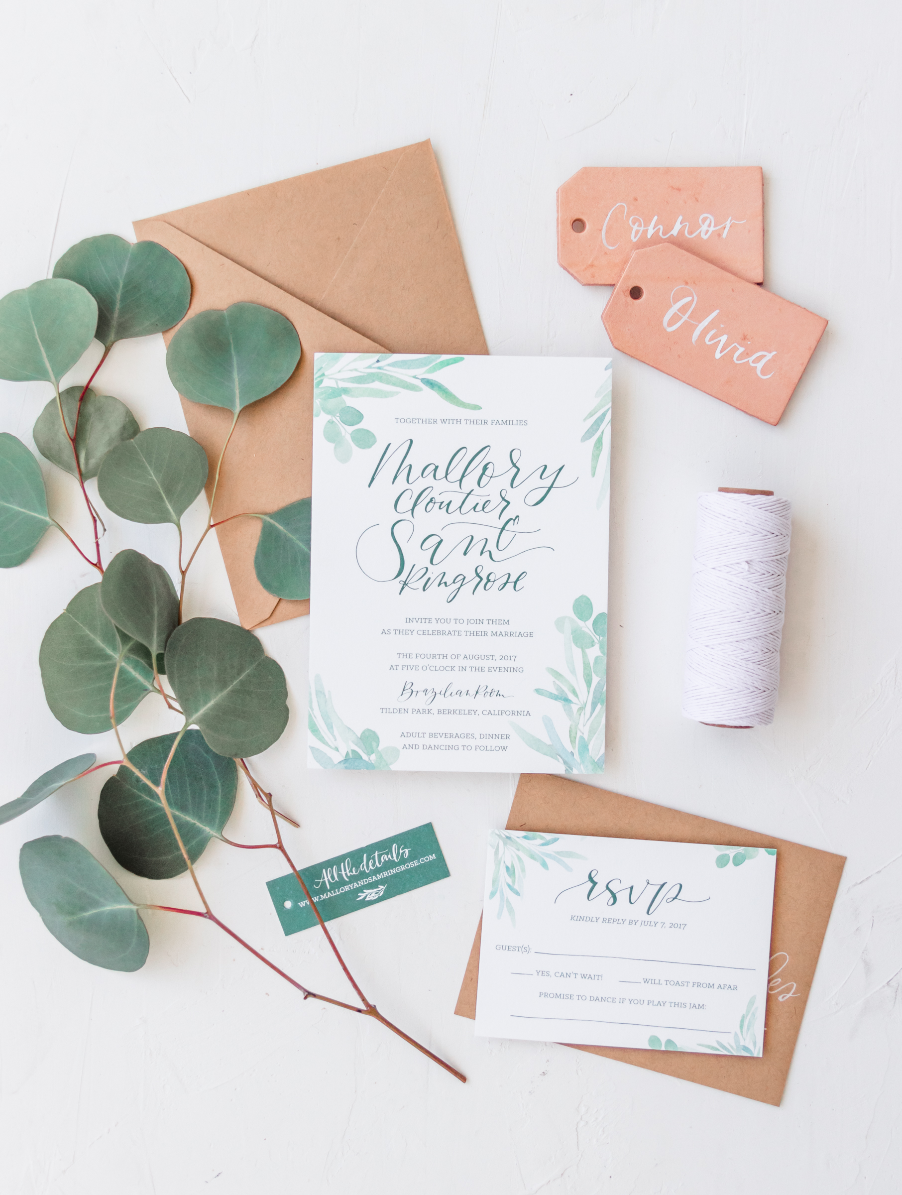Rustic California Wedding Invitation
