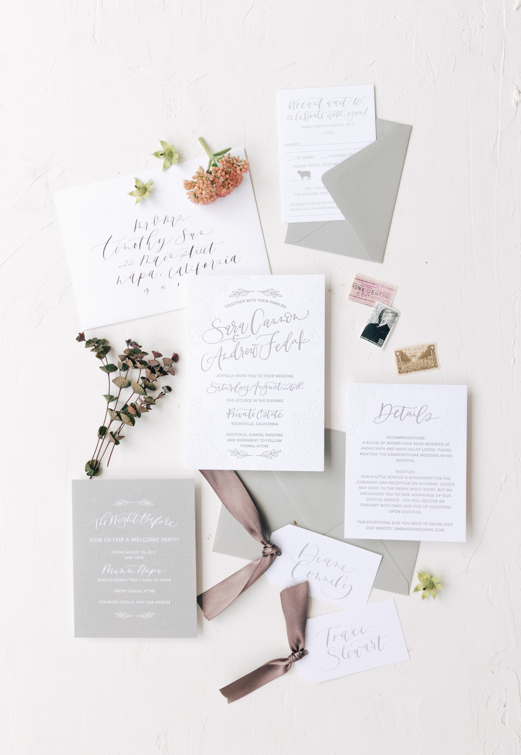 Sophisticated Grey Hand Lettered Wedding Invitation
