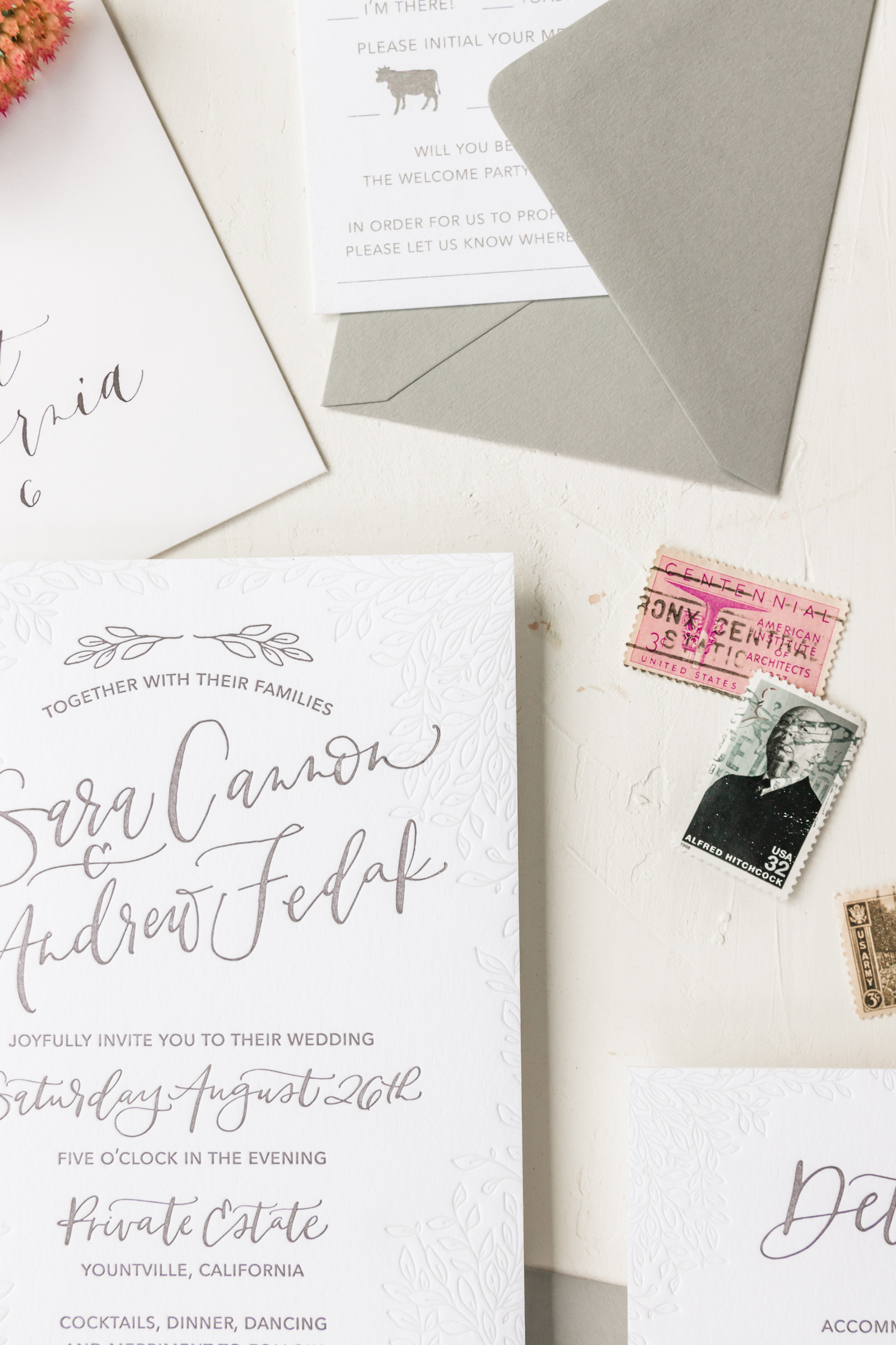 Unique and Sophisticated Grey Wedding Invitation