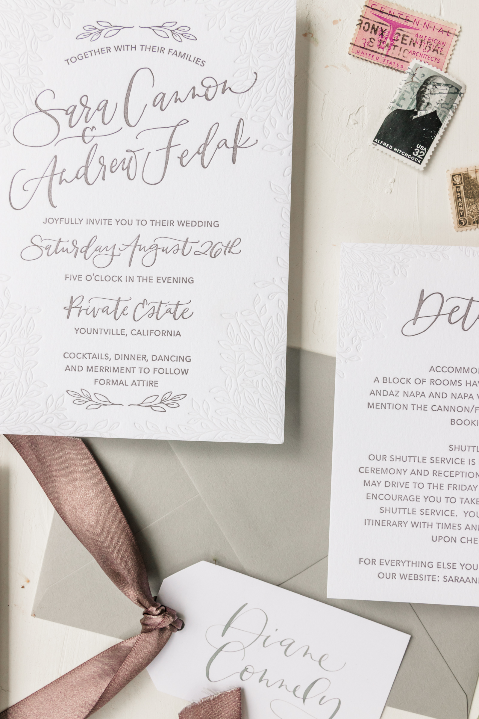 Elegant Grey Wedding Invitation with Unique Blind Letterpress