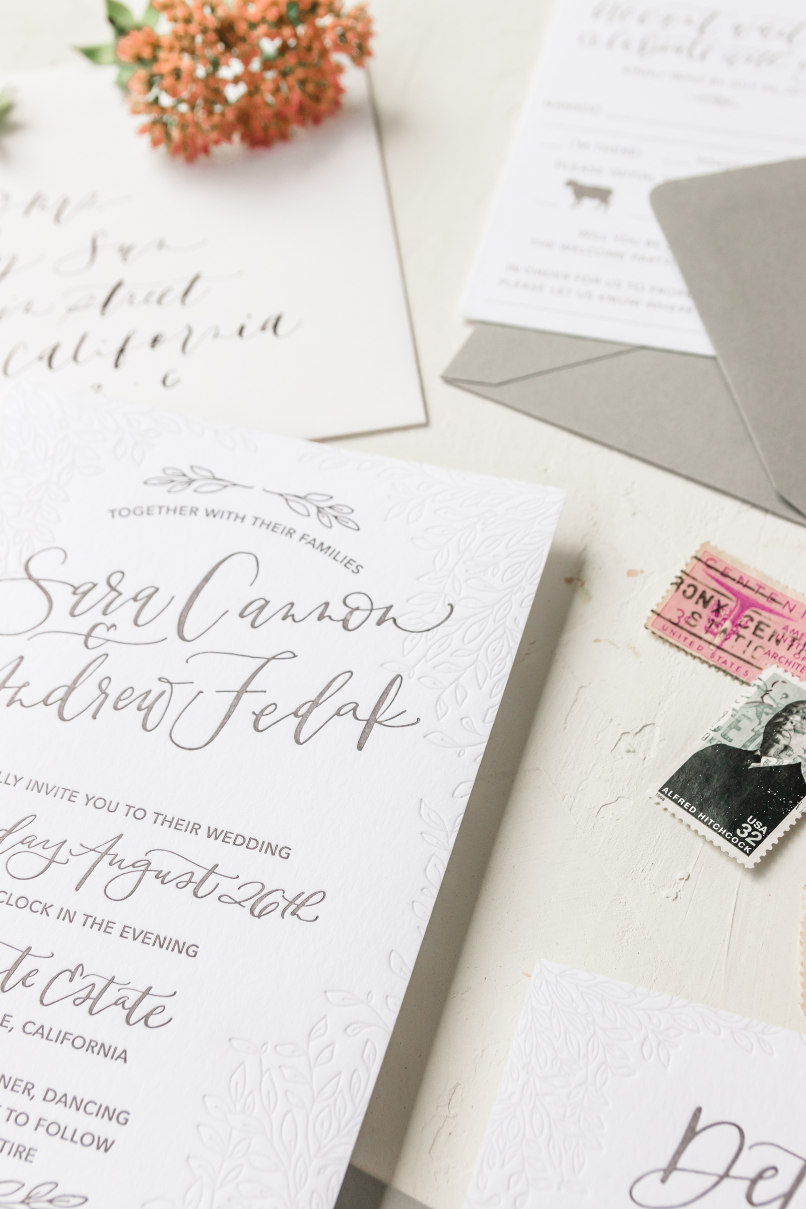 Unique Blind Letterpress Wedding Invitation
