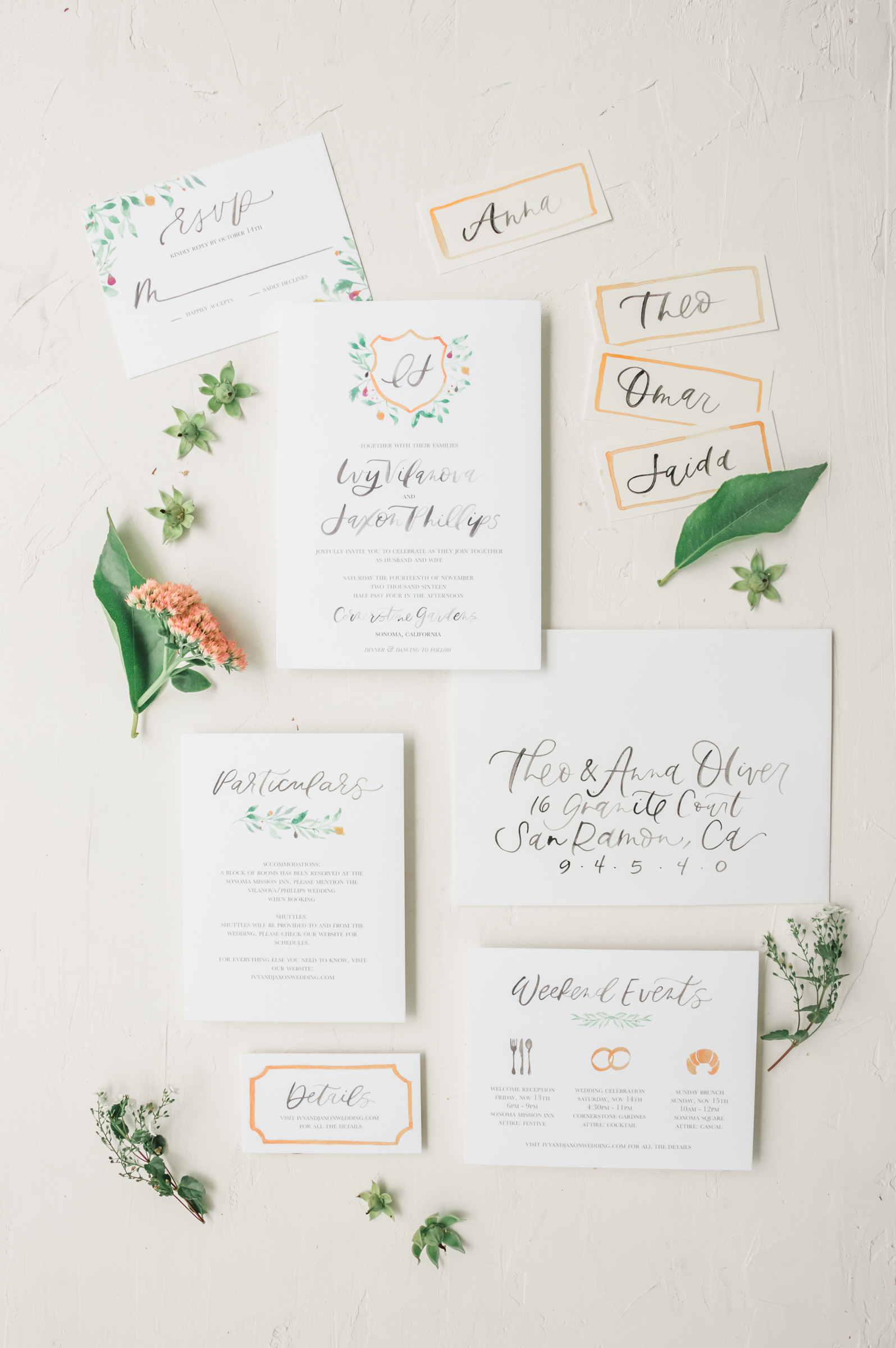 Watercolor wedding crest invitation