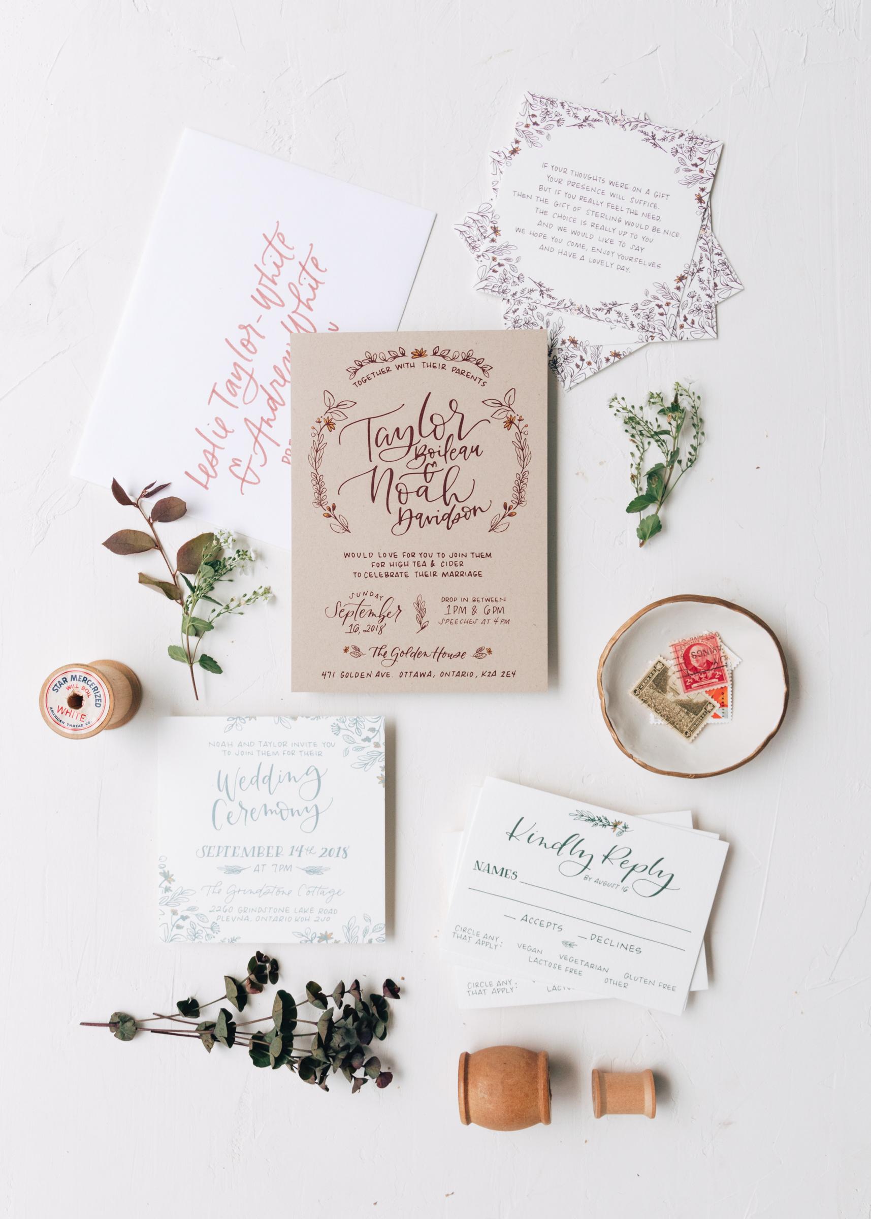 Rustic Illustrated Wedding Invitation