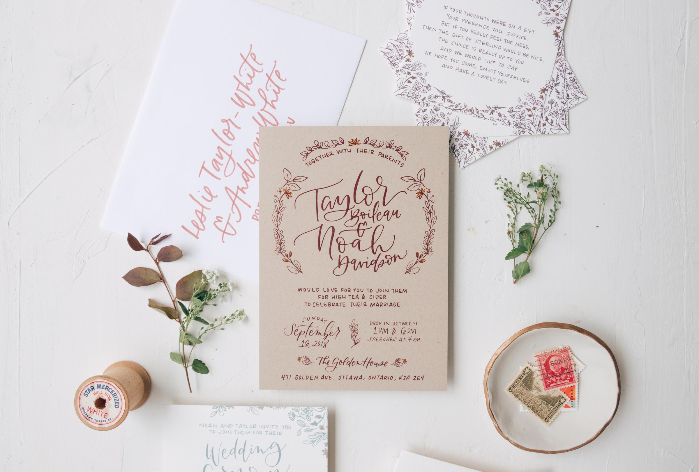 Rustic Hand Lettered Kraft Paper Wedding Invitation