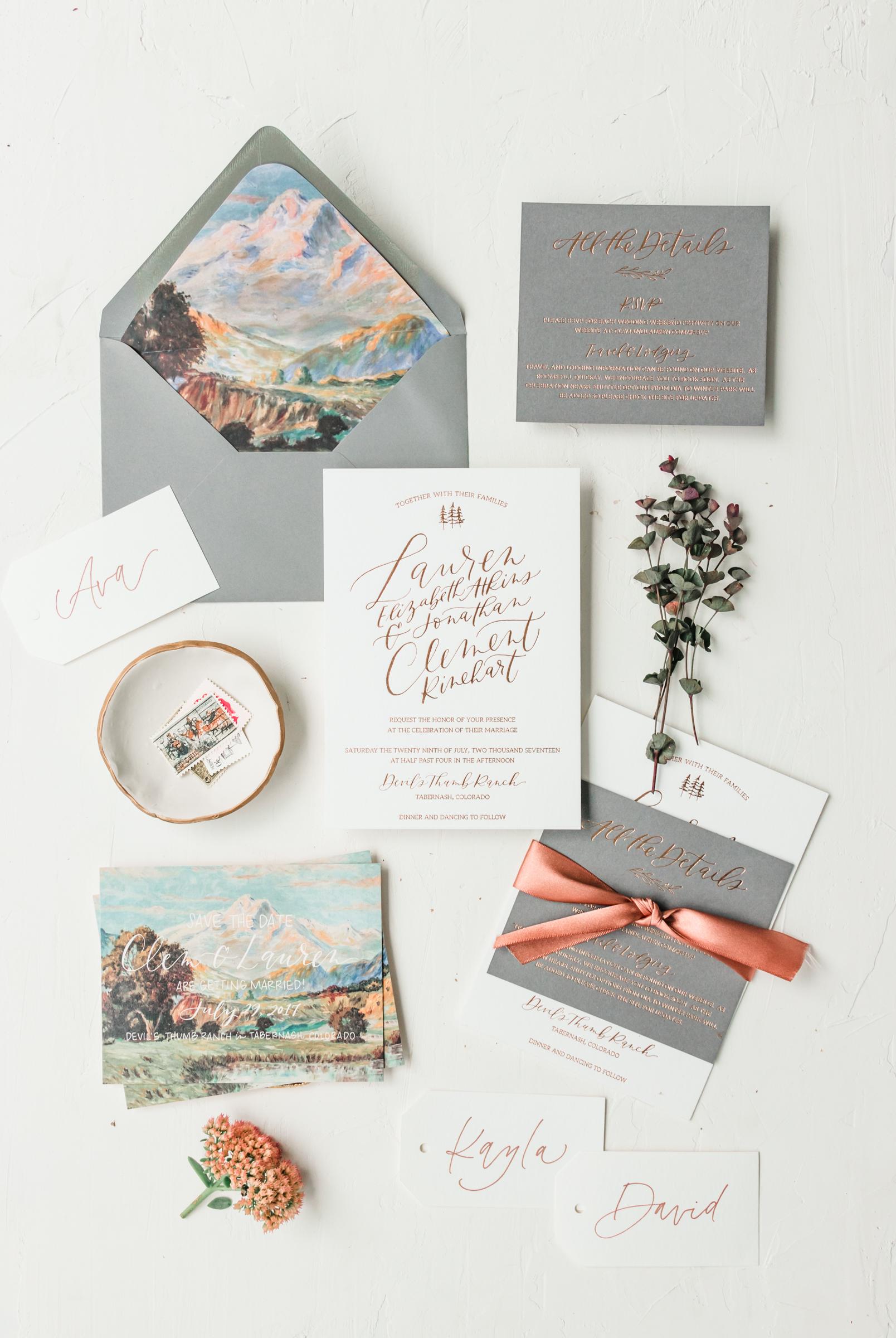 Modern Mountain Wedding Invitation Suite