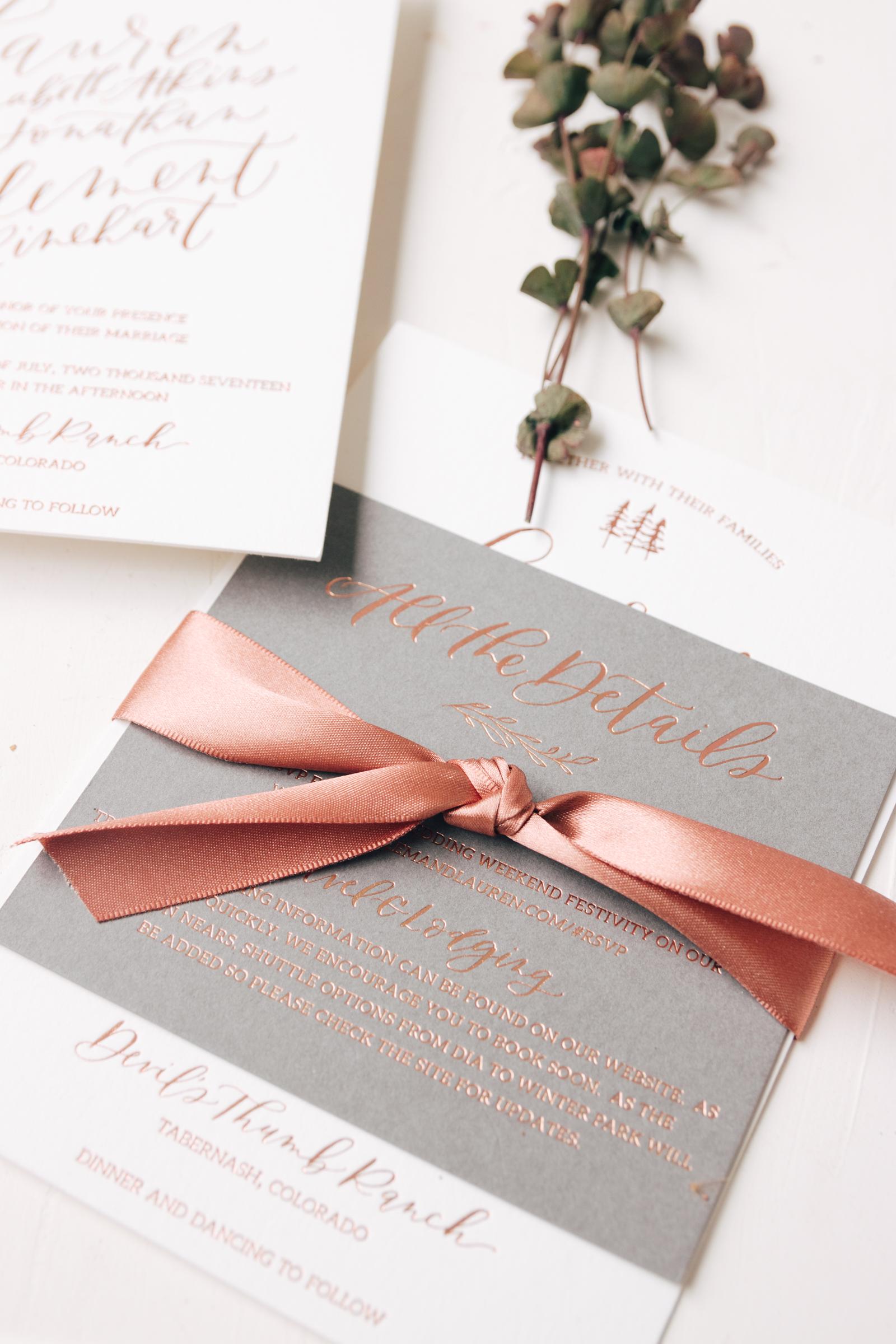 Modern Copper Foil Wedding Invitation